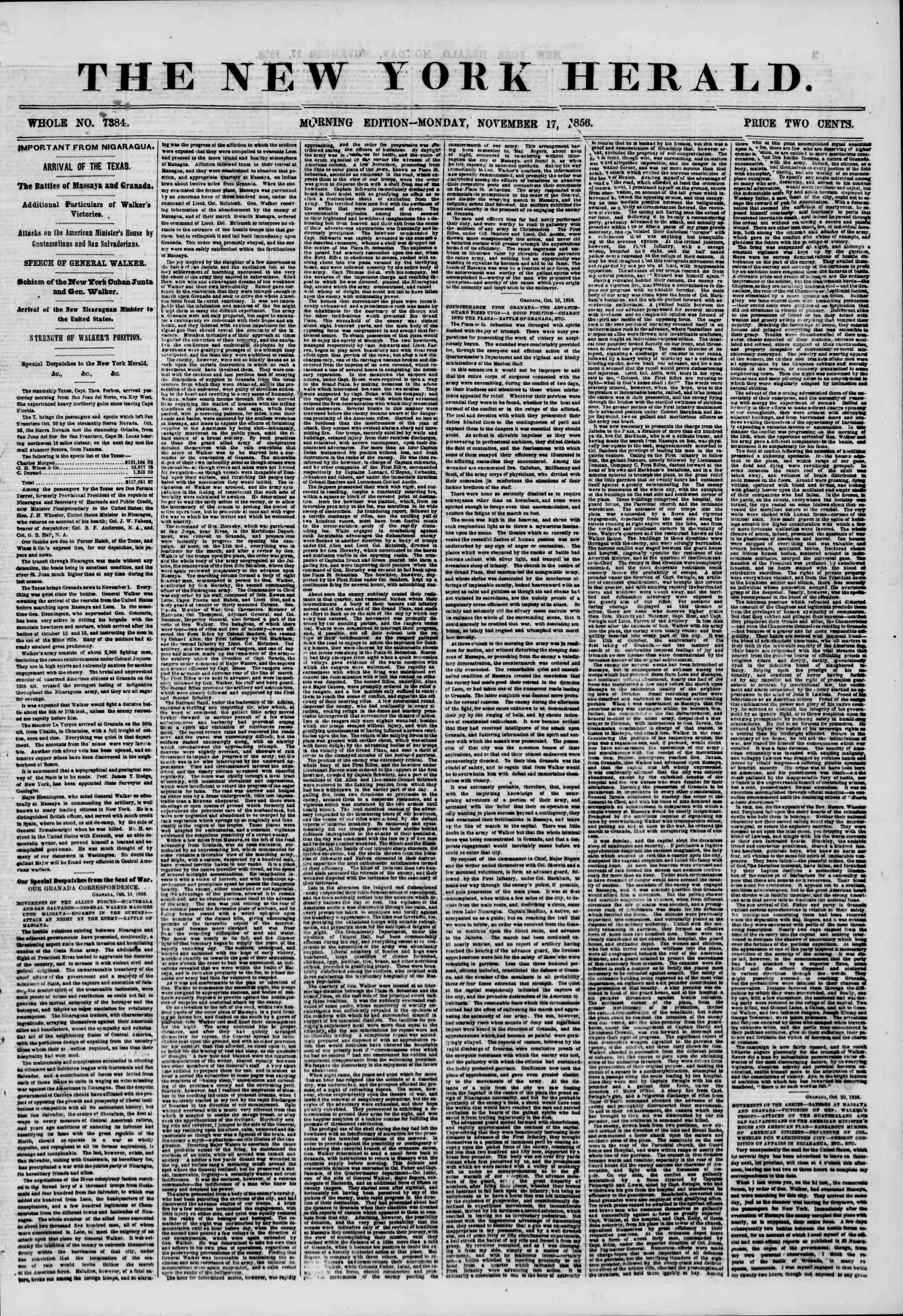 Newspaper of The New York Herald dated November 17, 1856 Page 1
