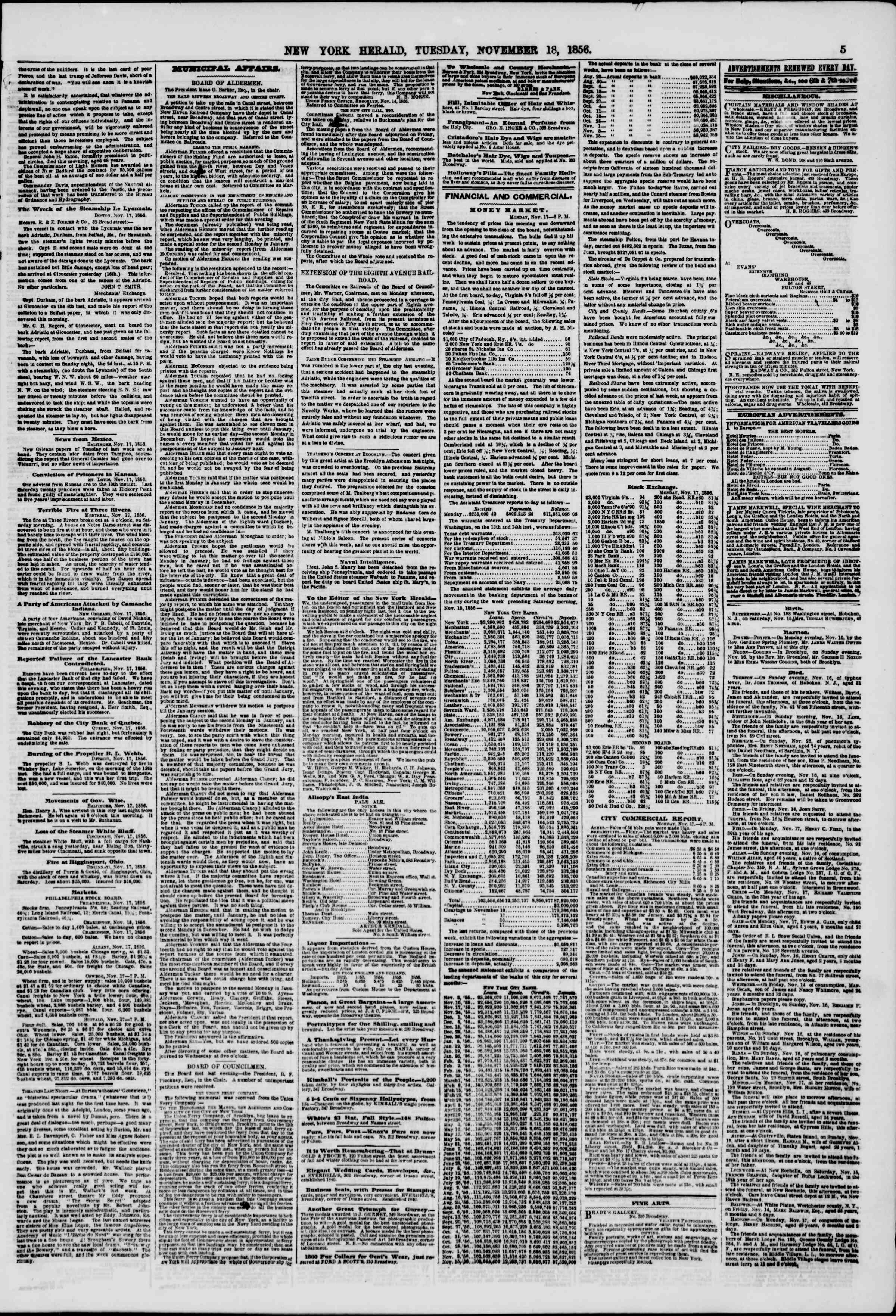 Newspaper of The New York Herald dated November 18, 1856 Page 5