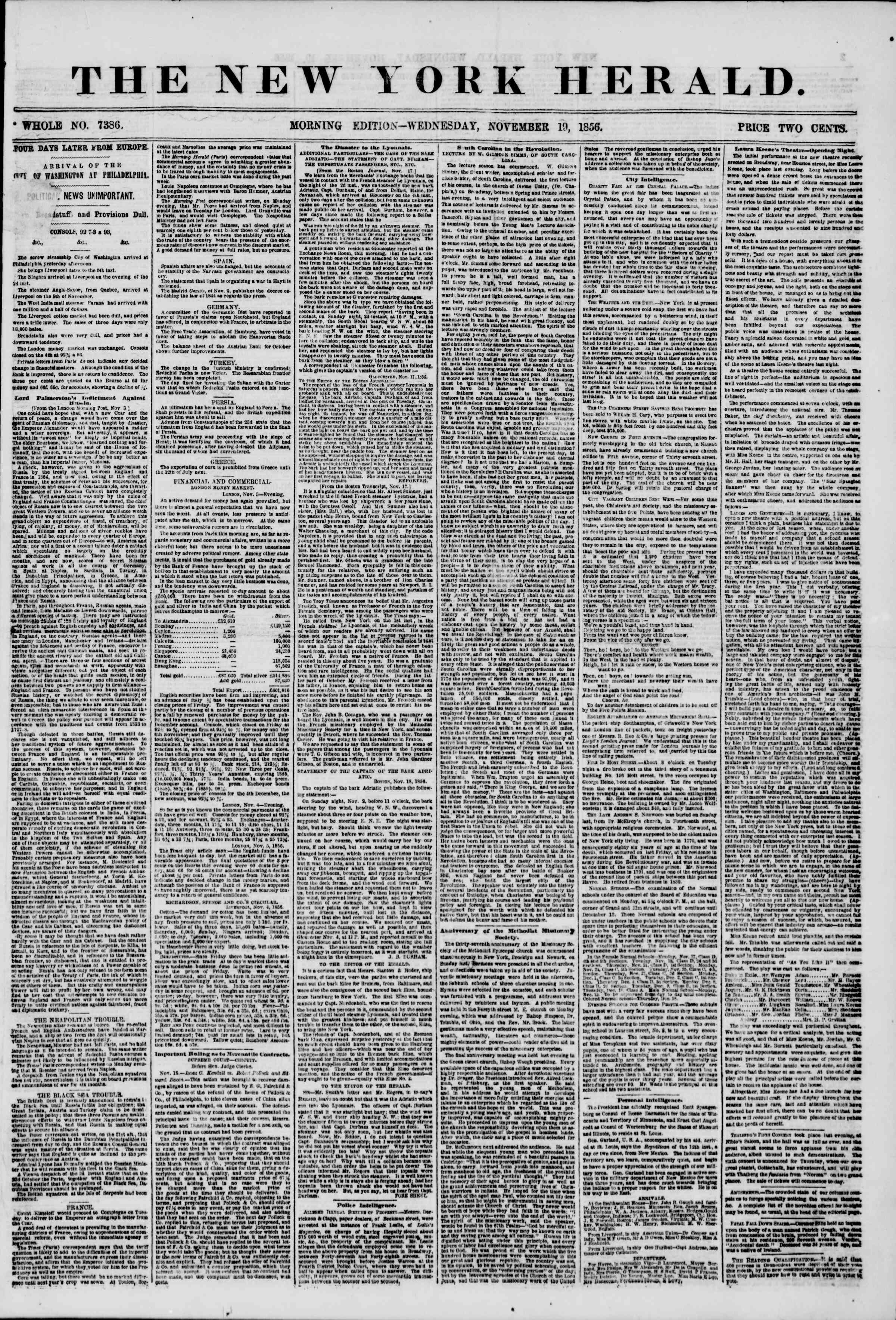 Newspaper of The New York Herald dated November 19, 1856 Page 1