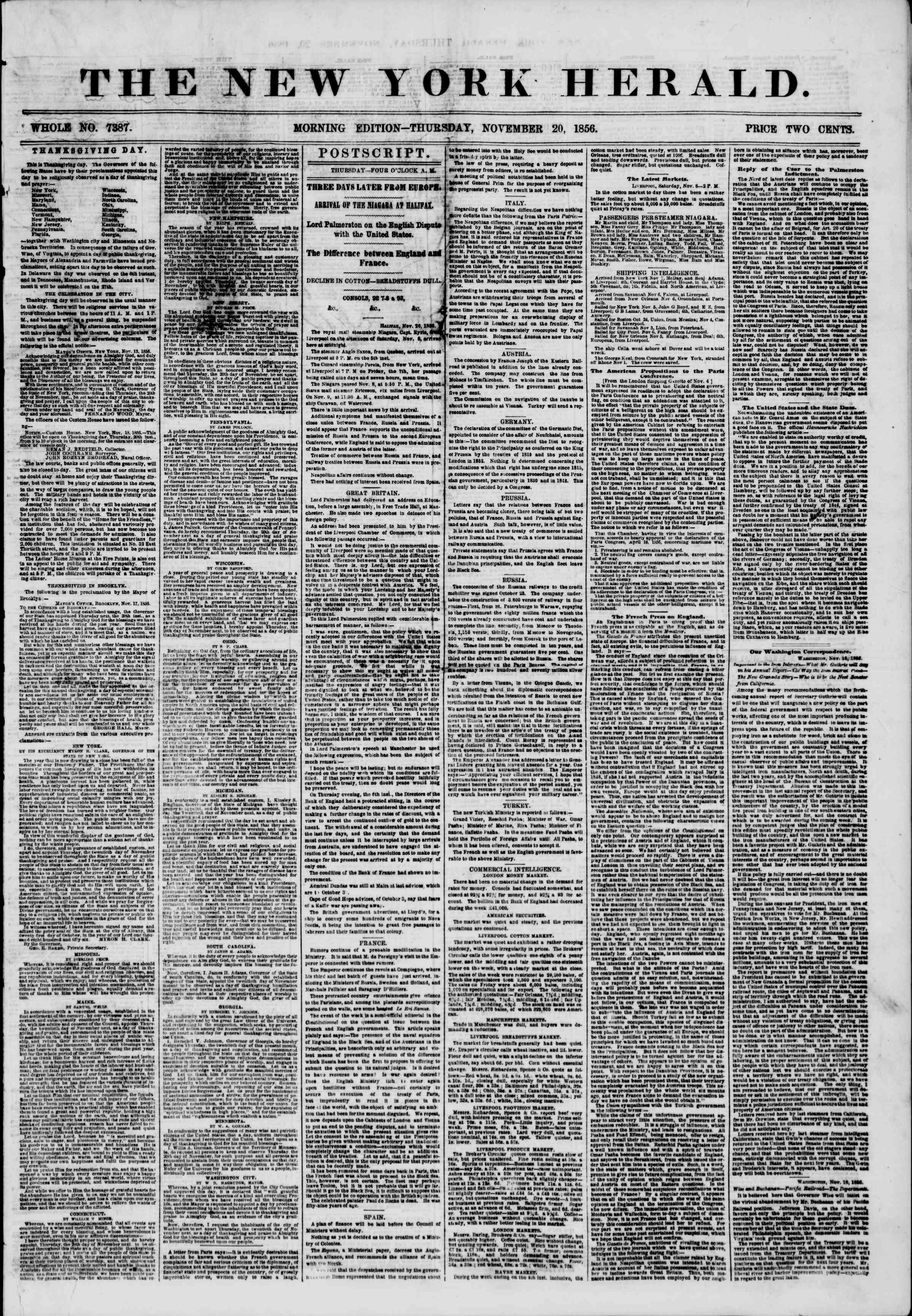 Newspaper of The New York Herald dated November 20, 1856 Page 1