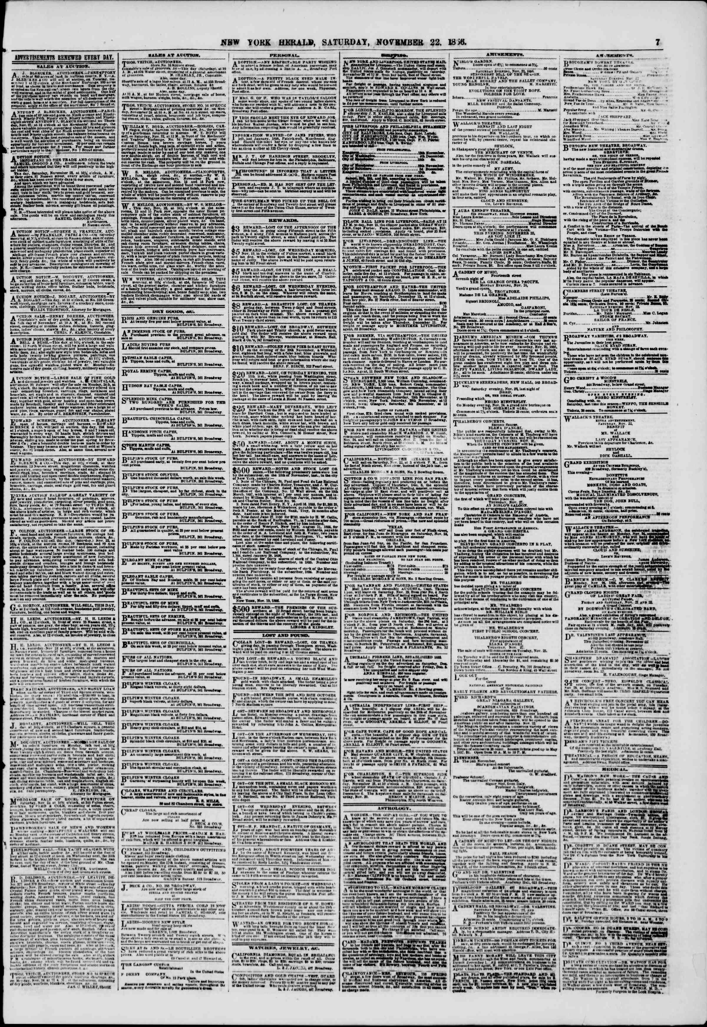 Newspaper of The New York Herald dated November 22, 1856 Page 7