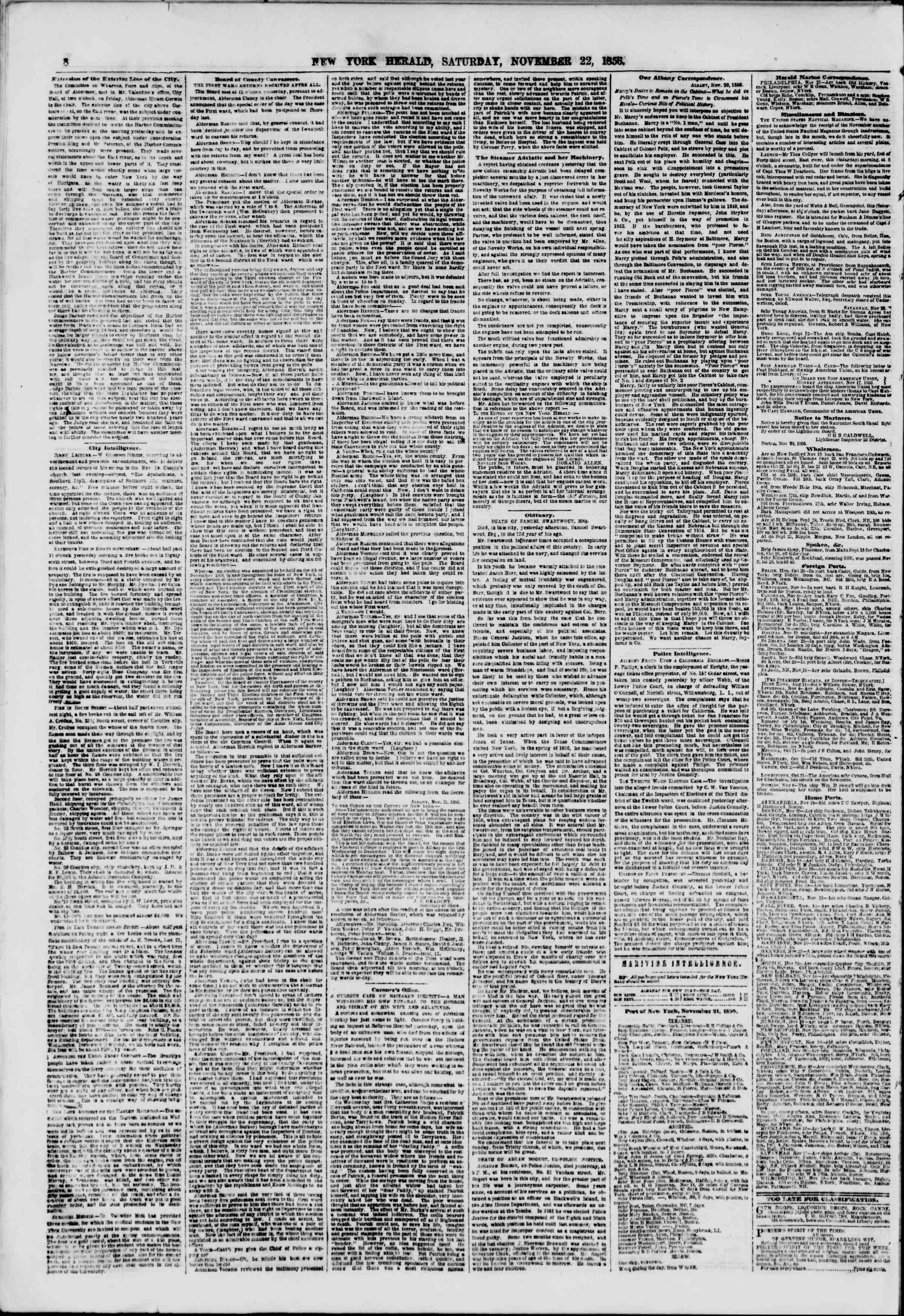Newspaper of The New York Herald dated 22 Kasım 1856 Page 8