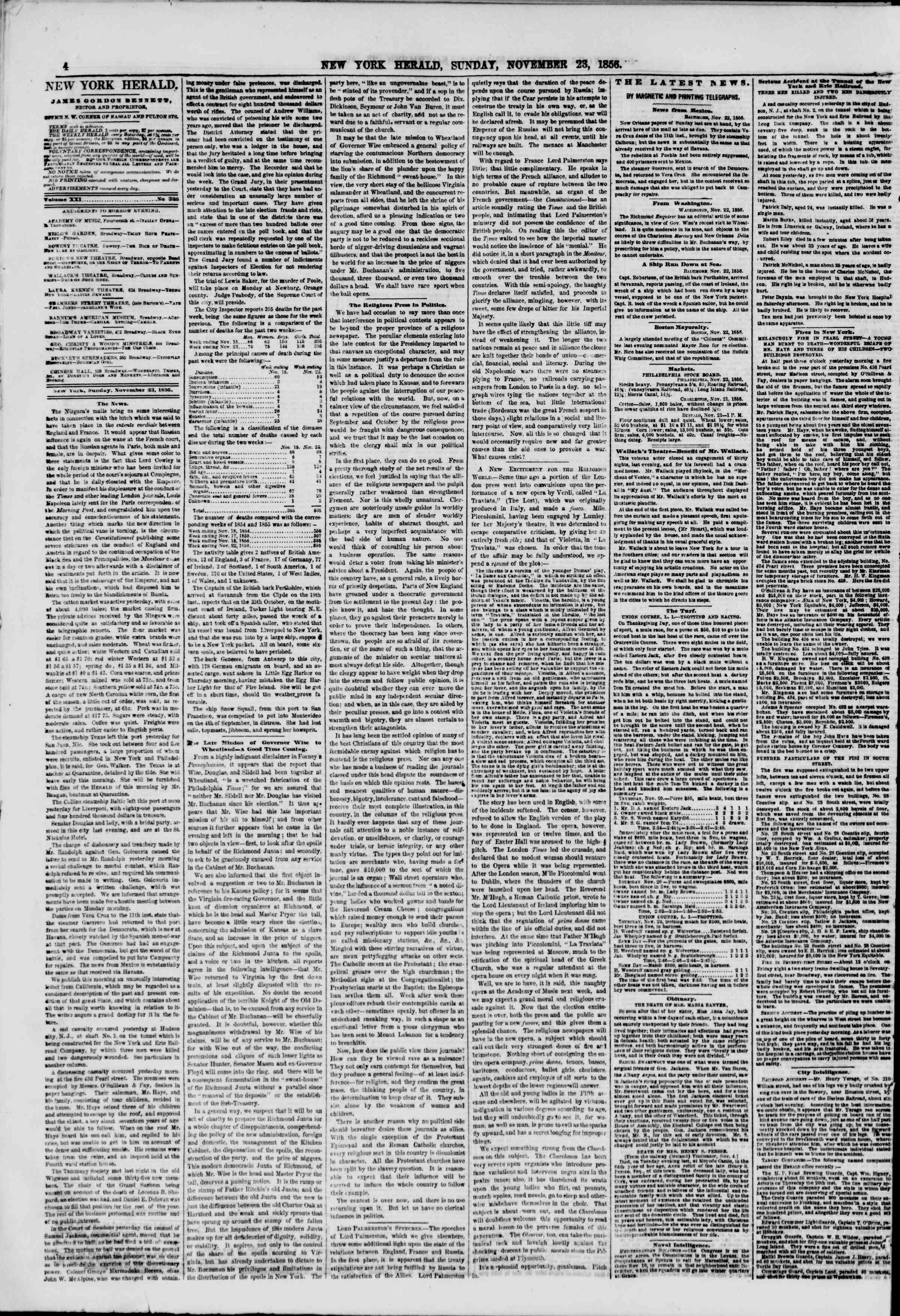 Newspaper of The New York Herald dated November 23, 1856 Page 4