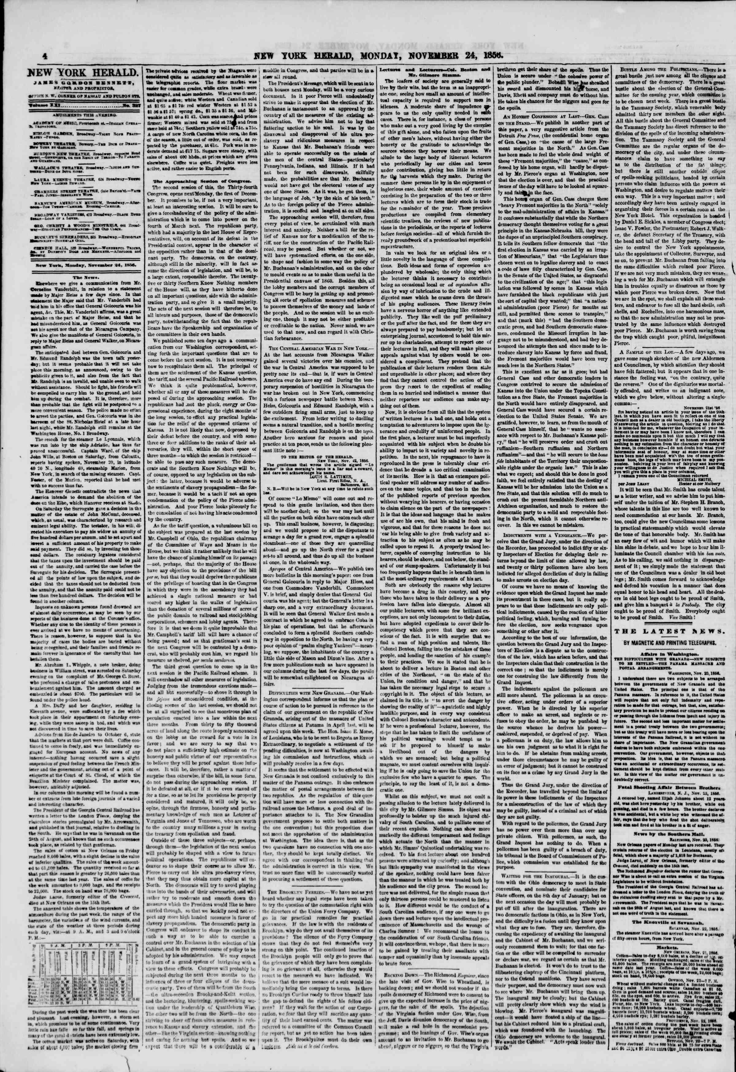 Newspaper of The New York Herald dated November 24, 1856 Page 4