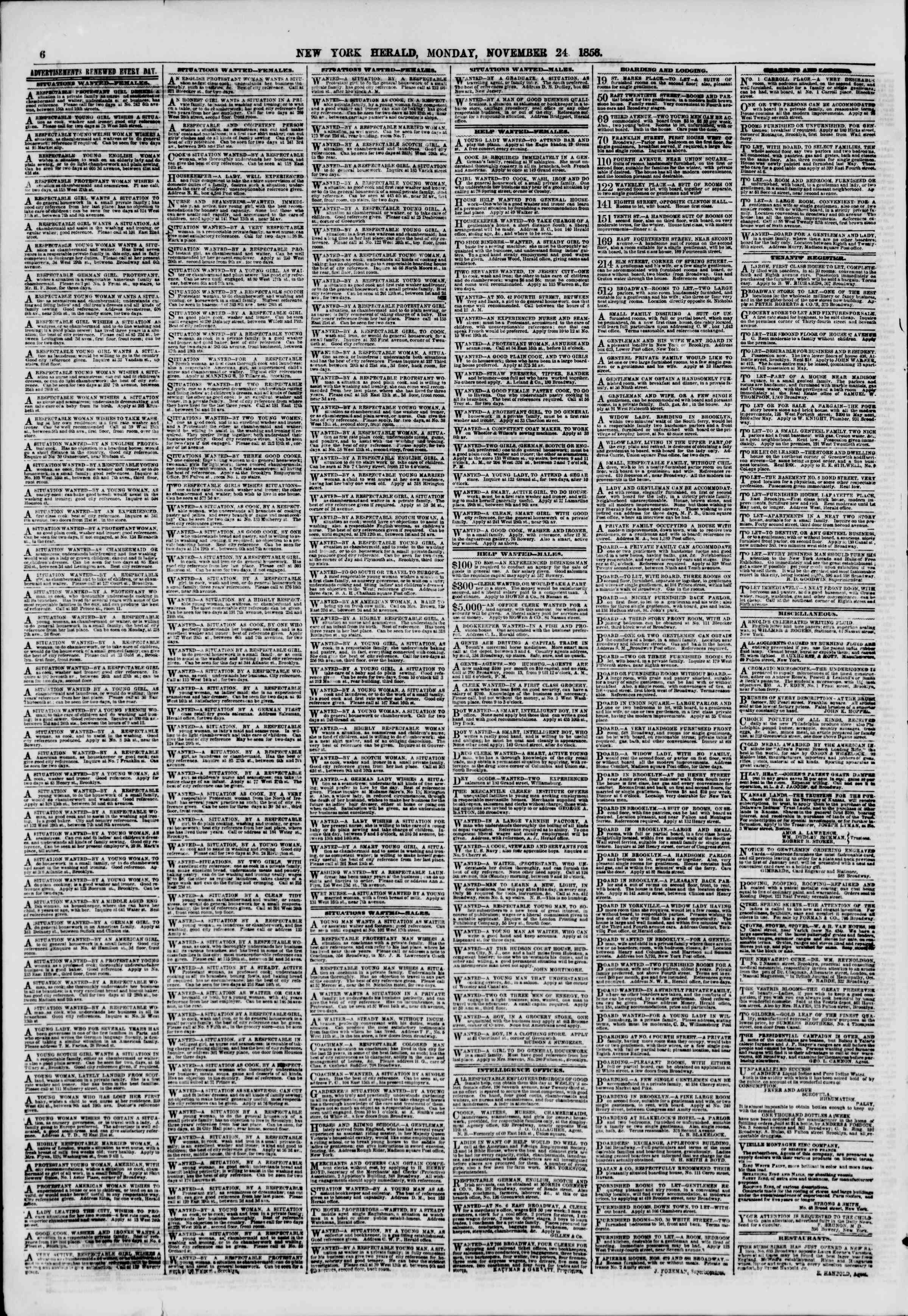 Newspaper of The New York Herald dated November 24, 1856 Page 6