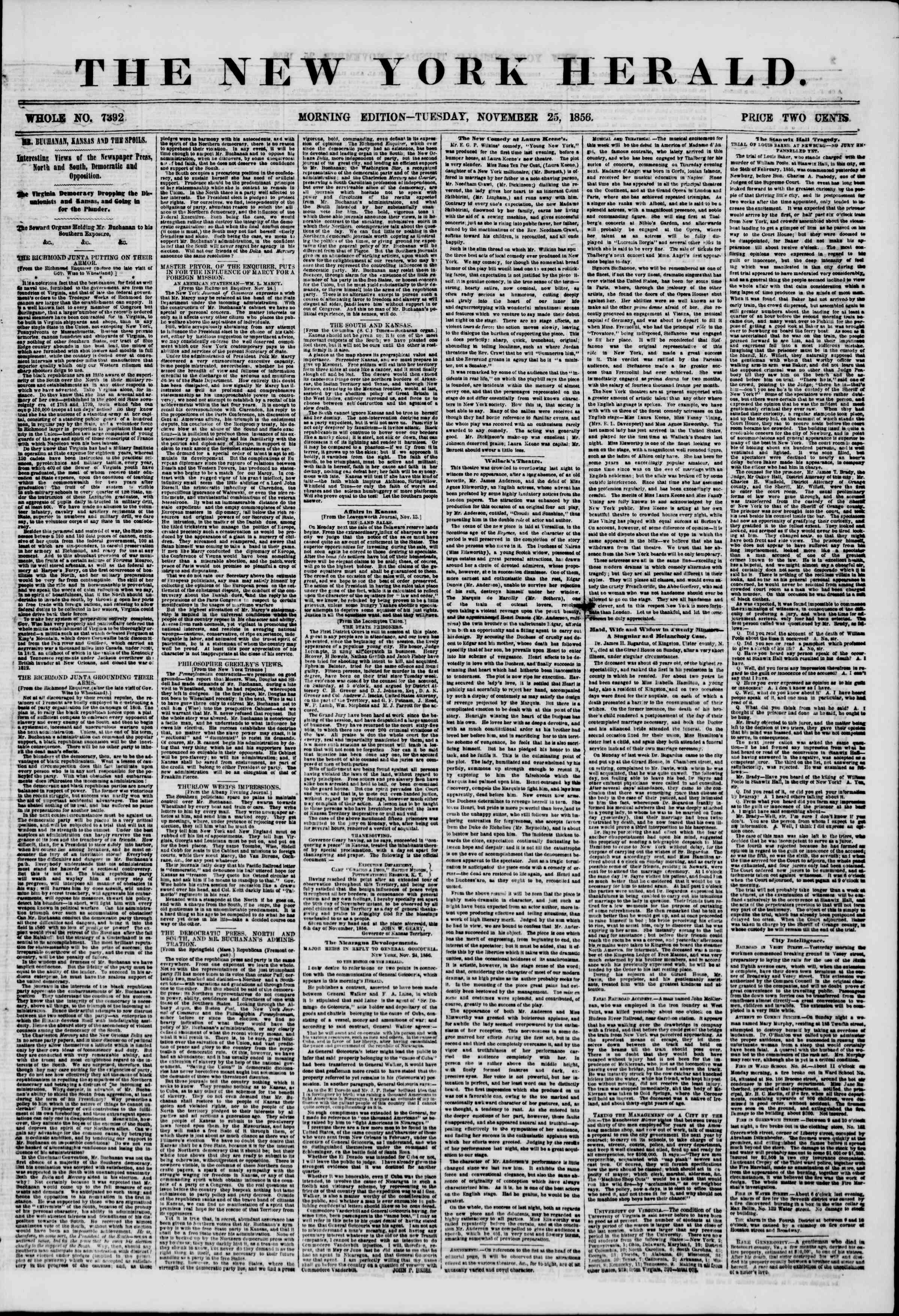 Newspaper of The New York Herald dated November 25, 1856 Page 1