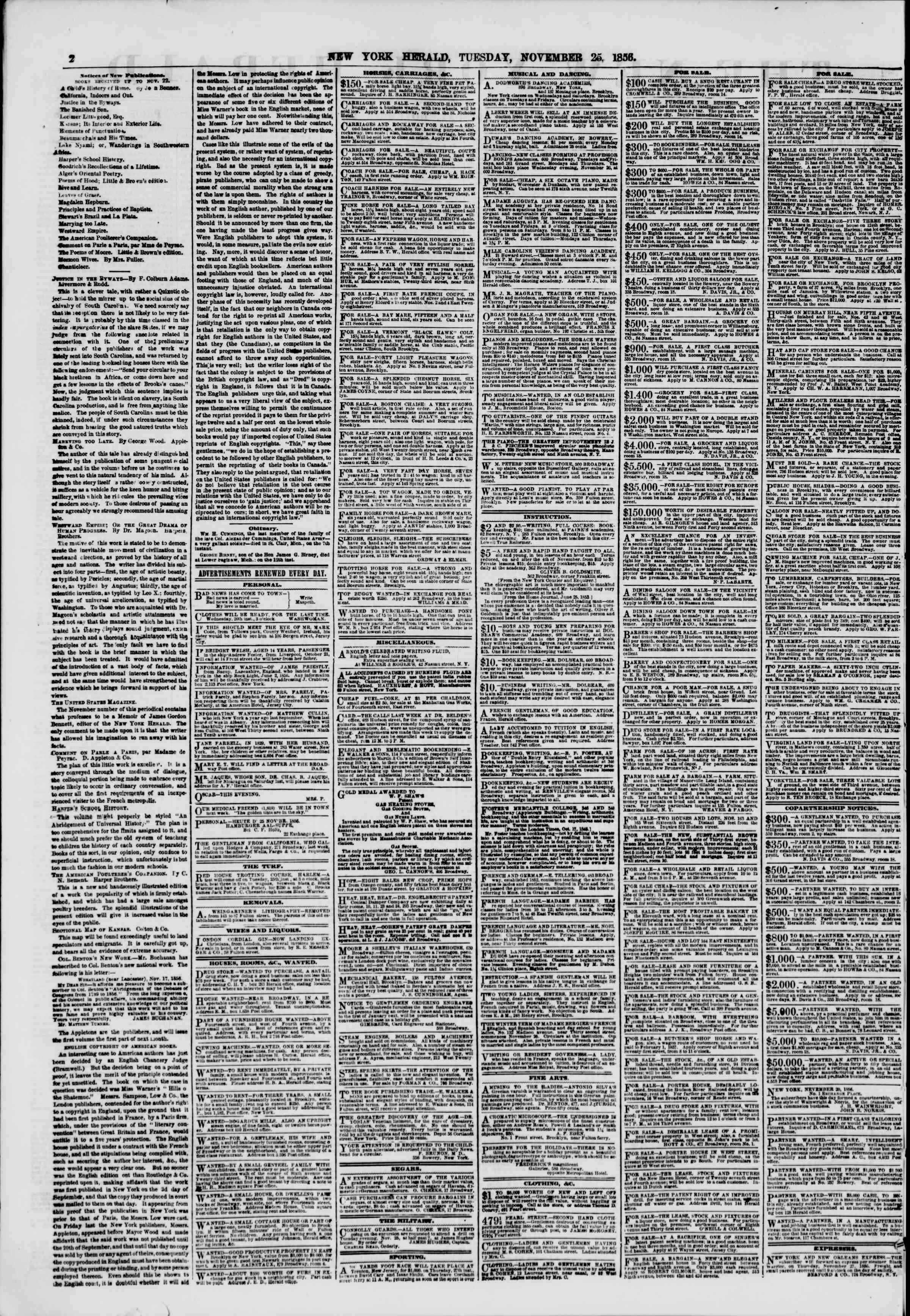 Newspaper of The New York Herald dated November 25, 1856 Page 2