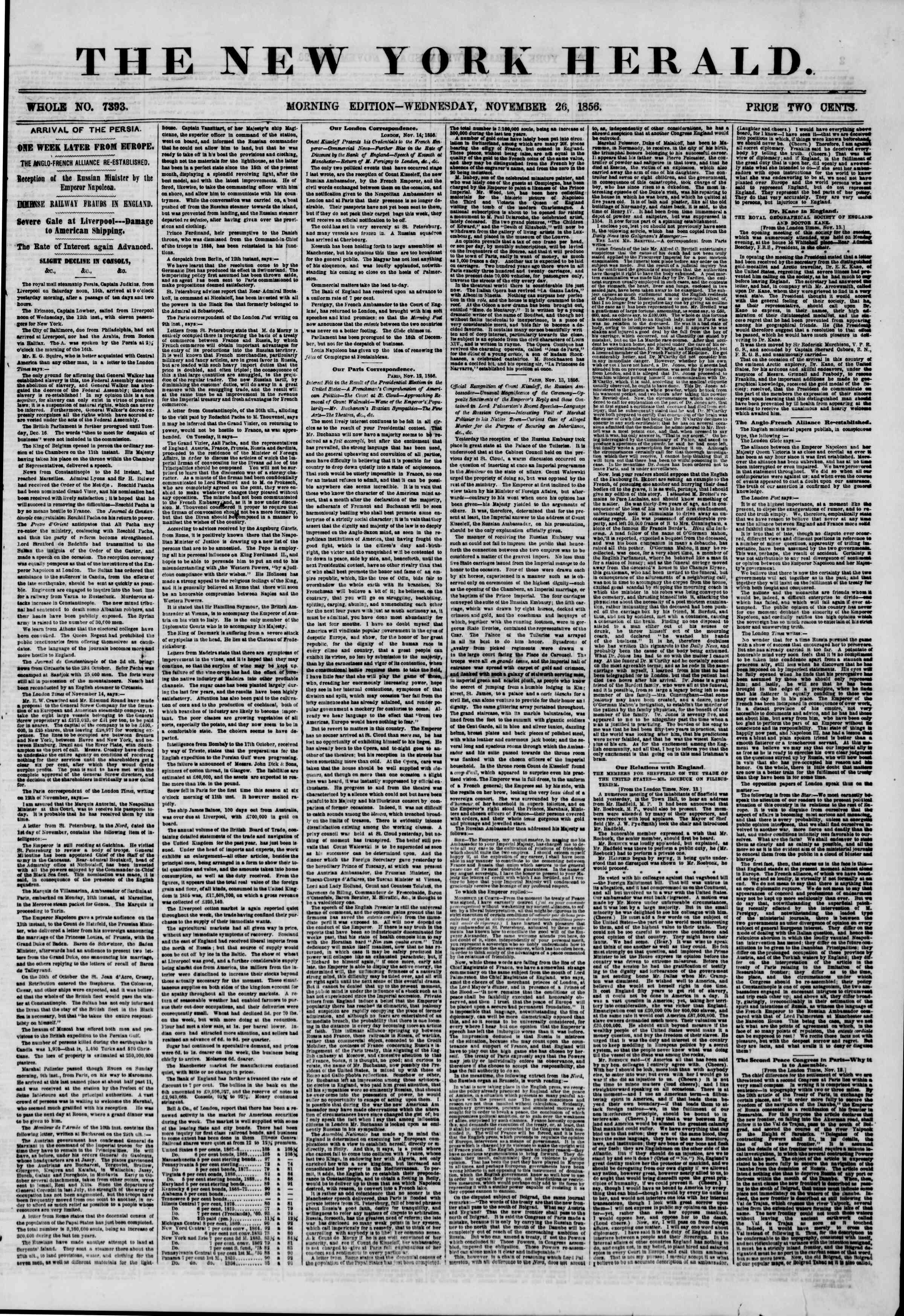 Newspaper of The New York Herald dated November 26, 1856 Page 1