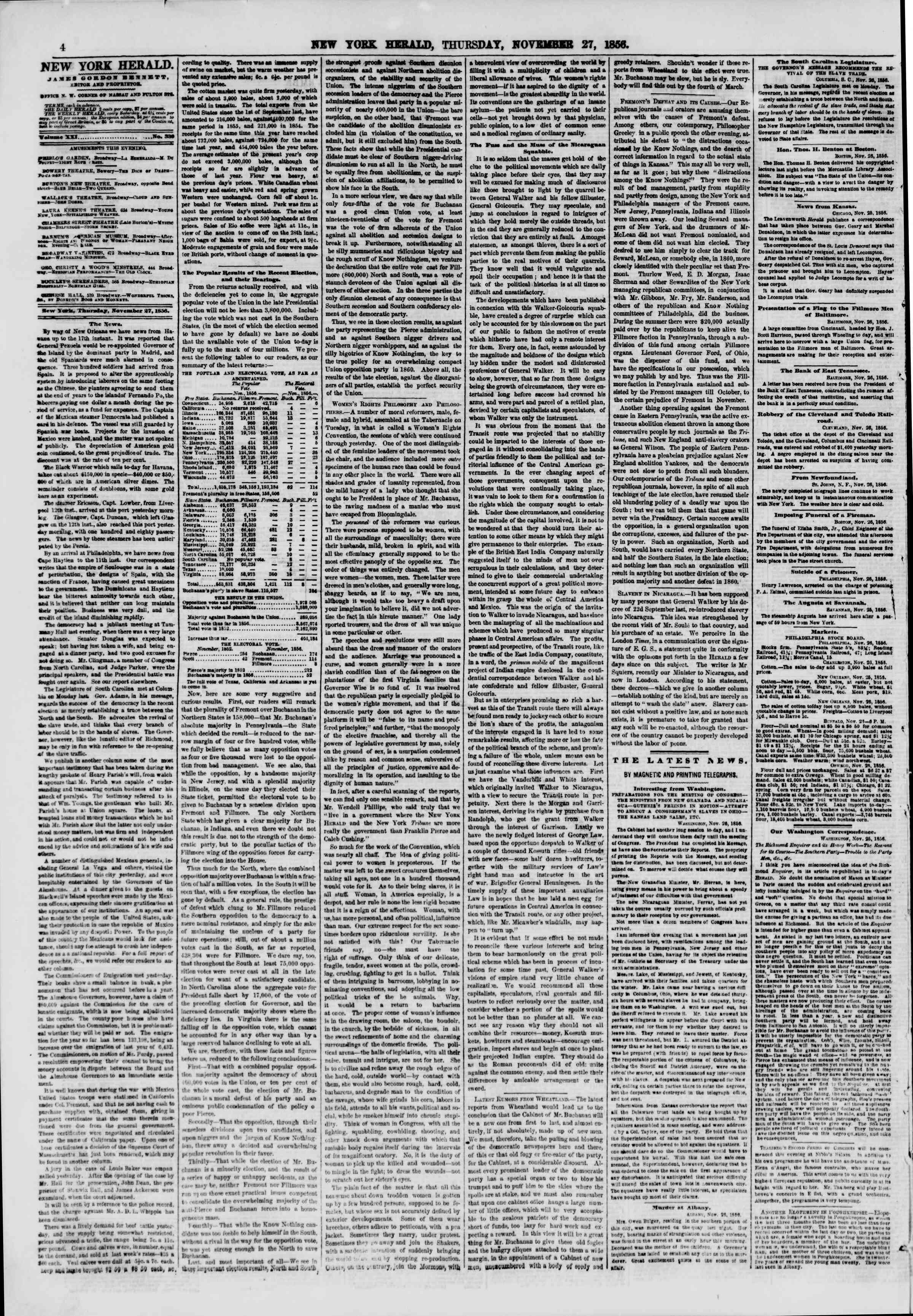 Newspaper of The New York Herald dated November 27, 1856 Page 4
