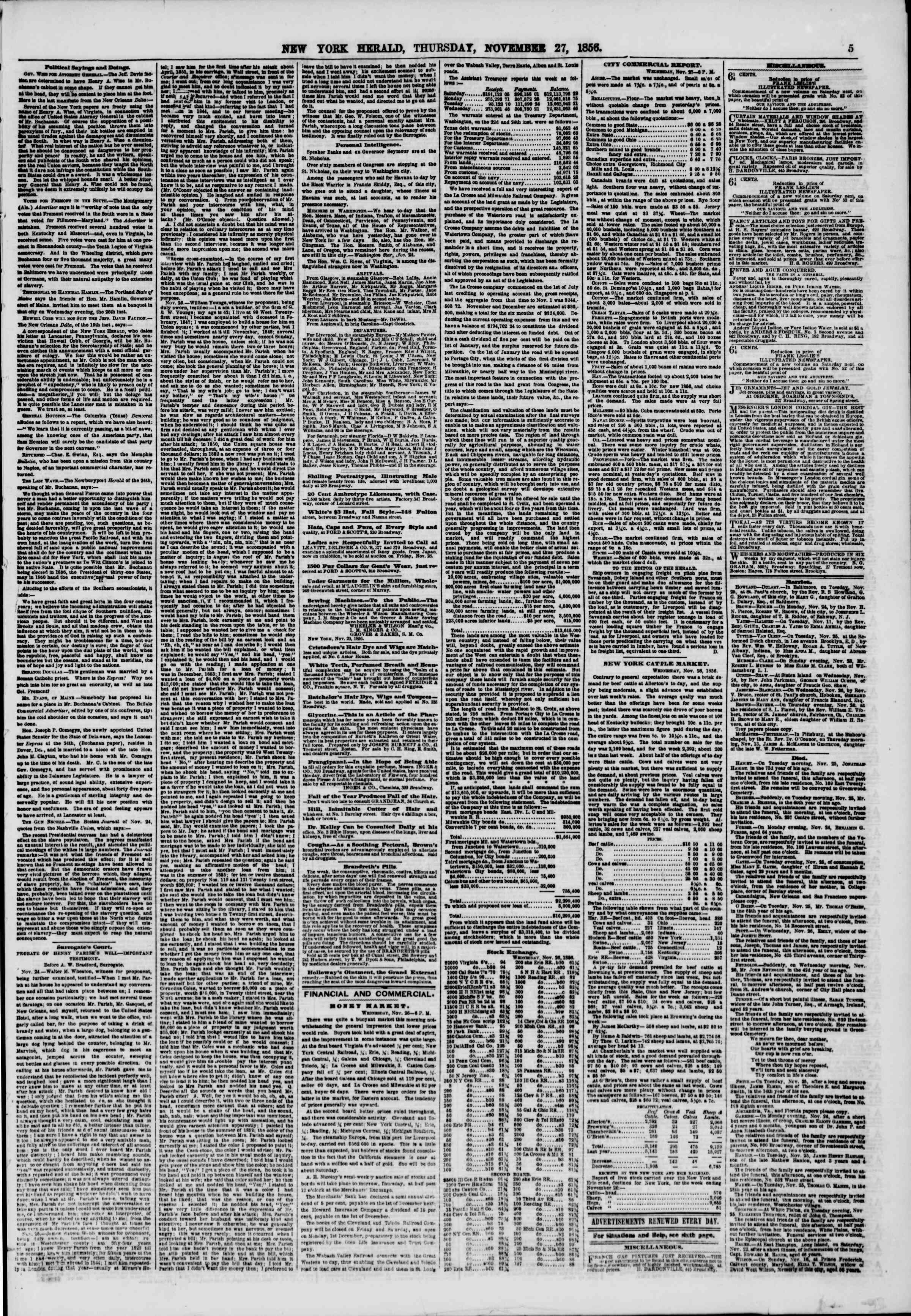 Newspaper of The New York Herald dated November 27, 1856 Page 5