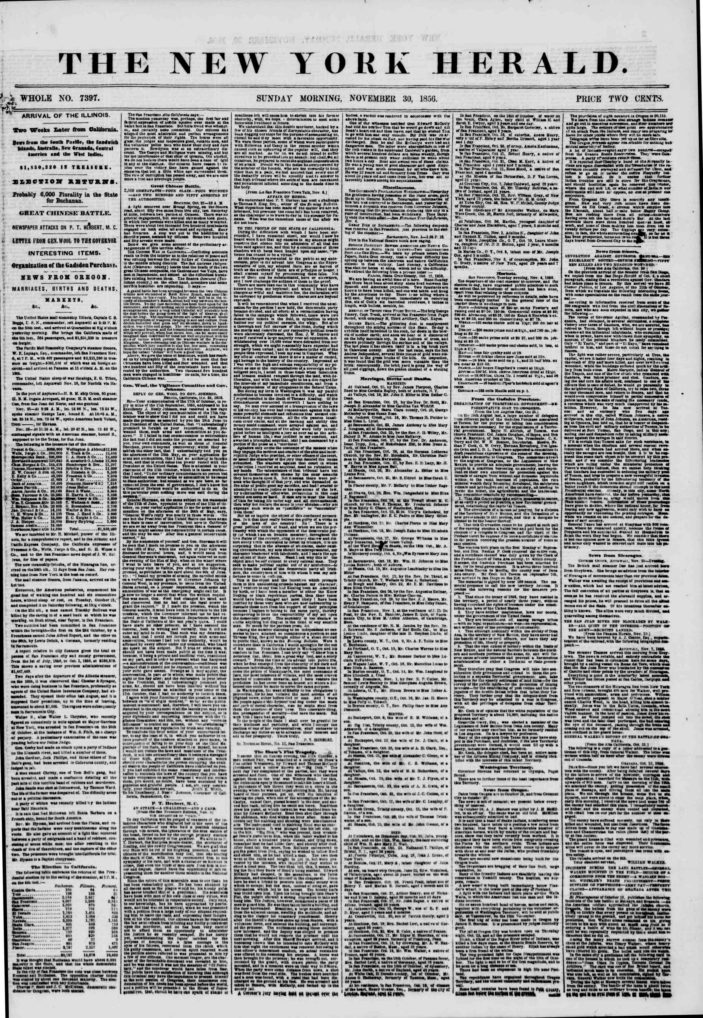 Newspaper of The New York Herald dated November 30, 1856 Page 1