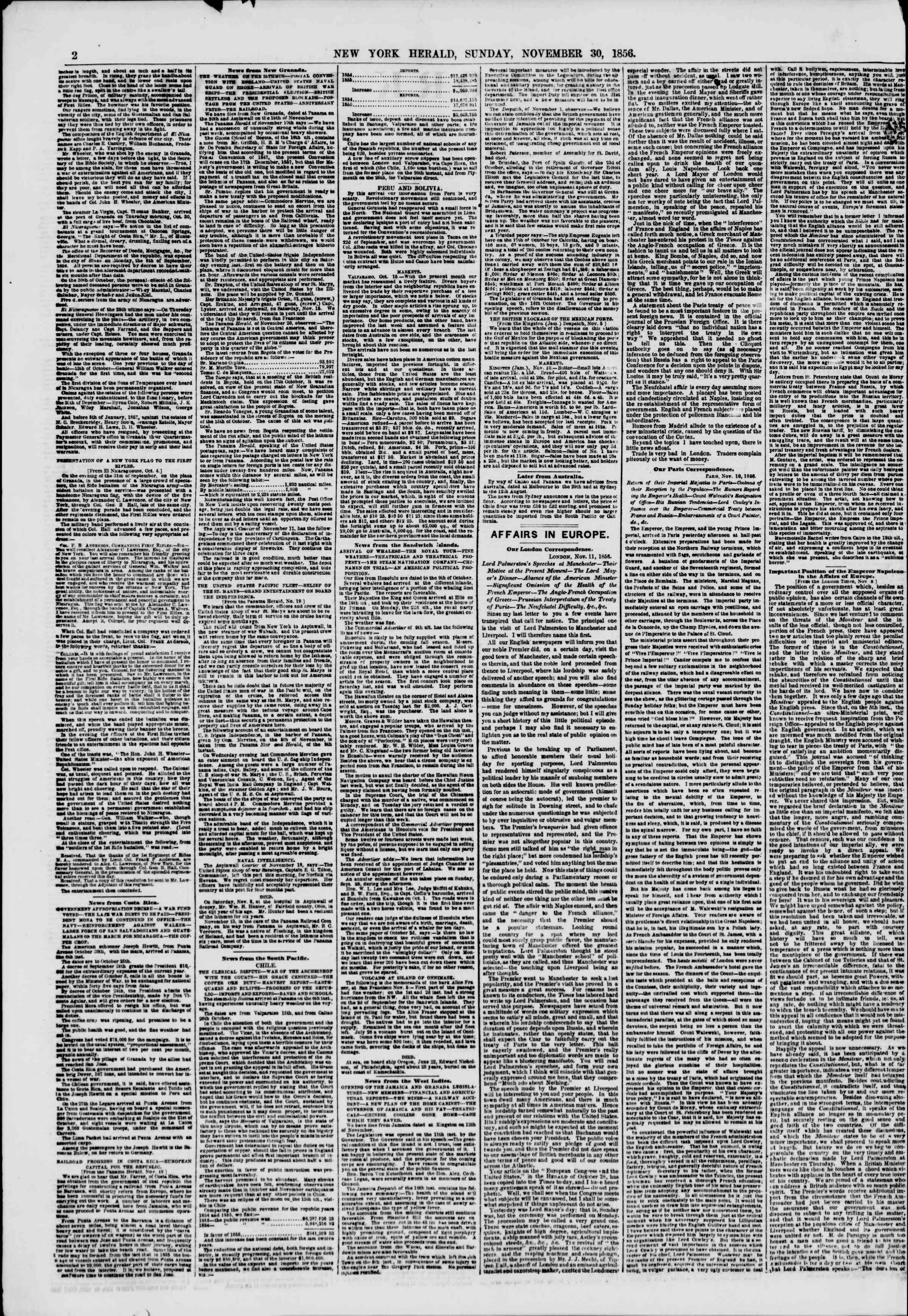 Newspaper of The New York Herald dated November 30, 1856 Page 2