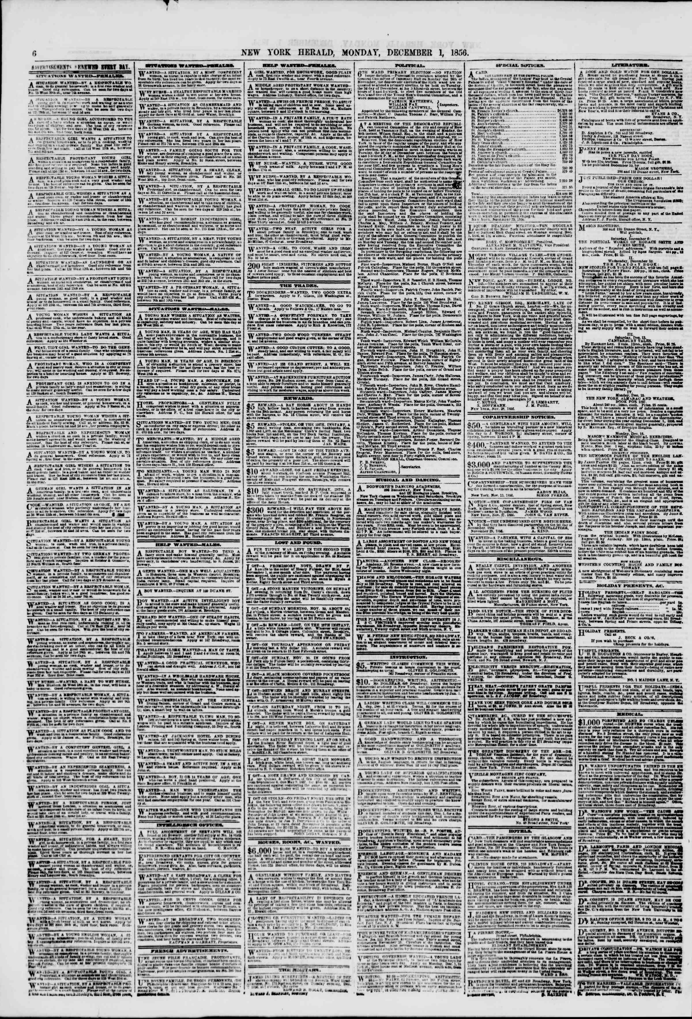 Newspaper of The New York Herald dated December 1, 1856 Page 6