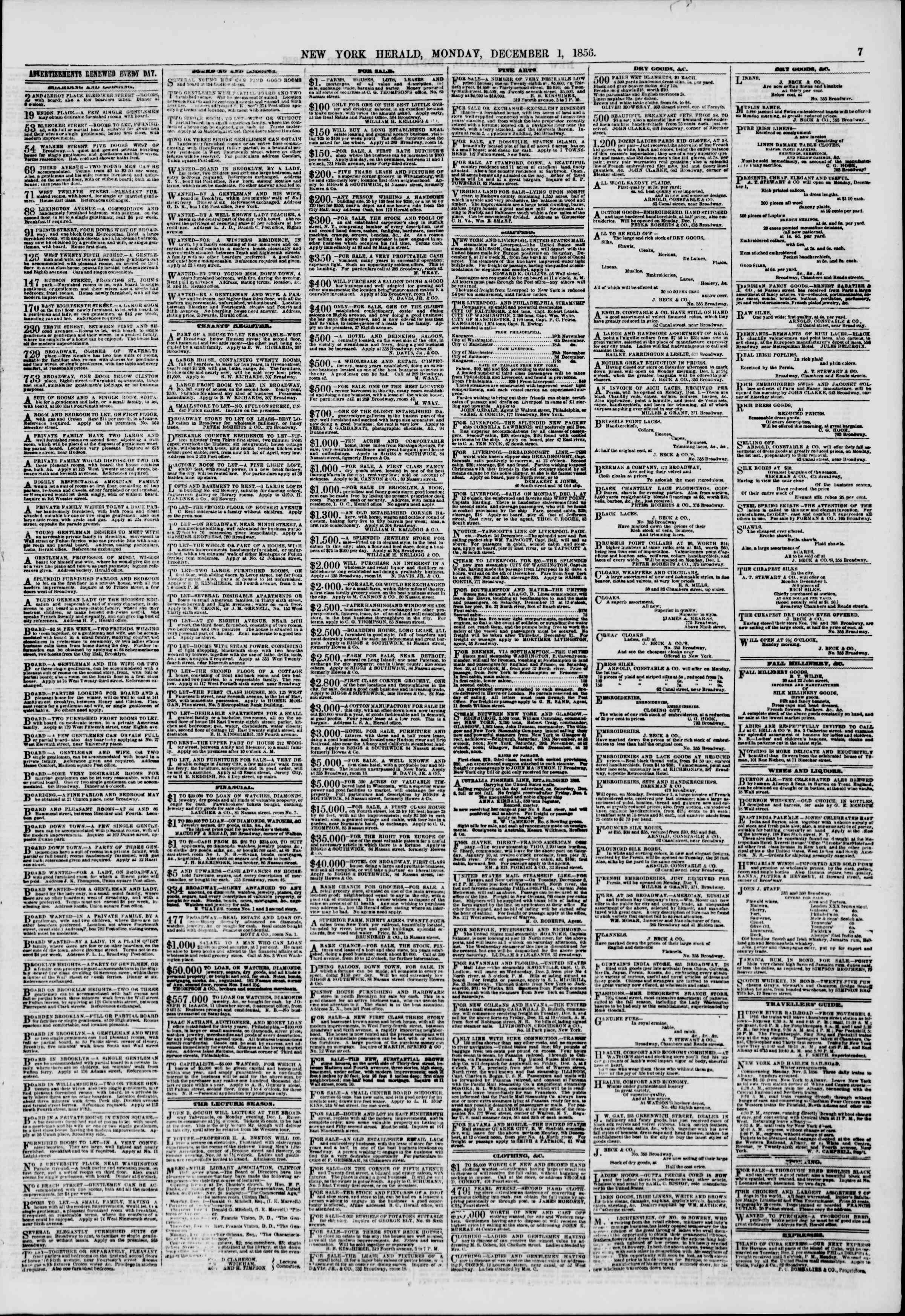 Newspaper of The New York Herald dated December 1, 1856 Page 7