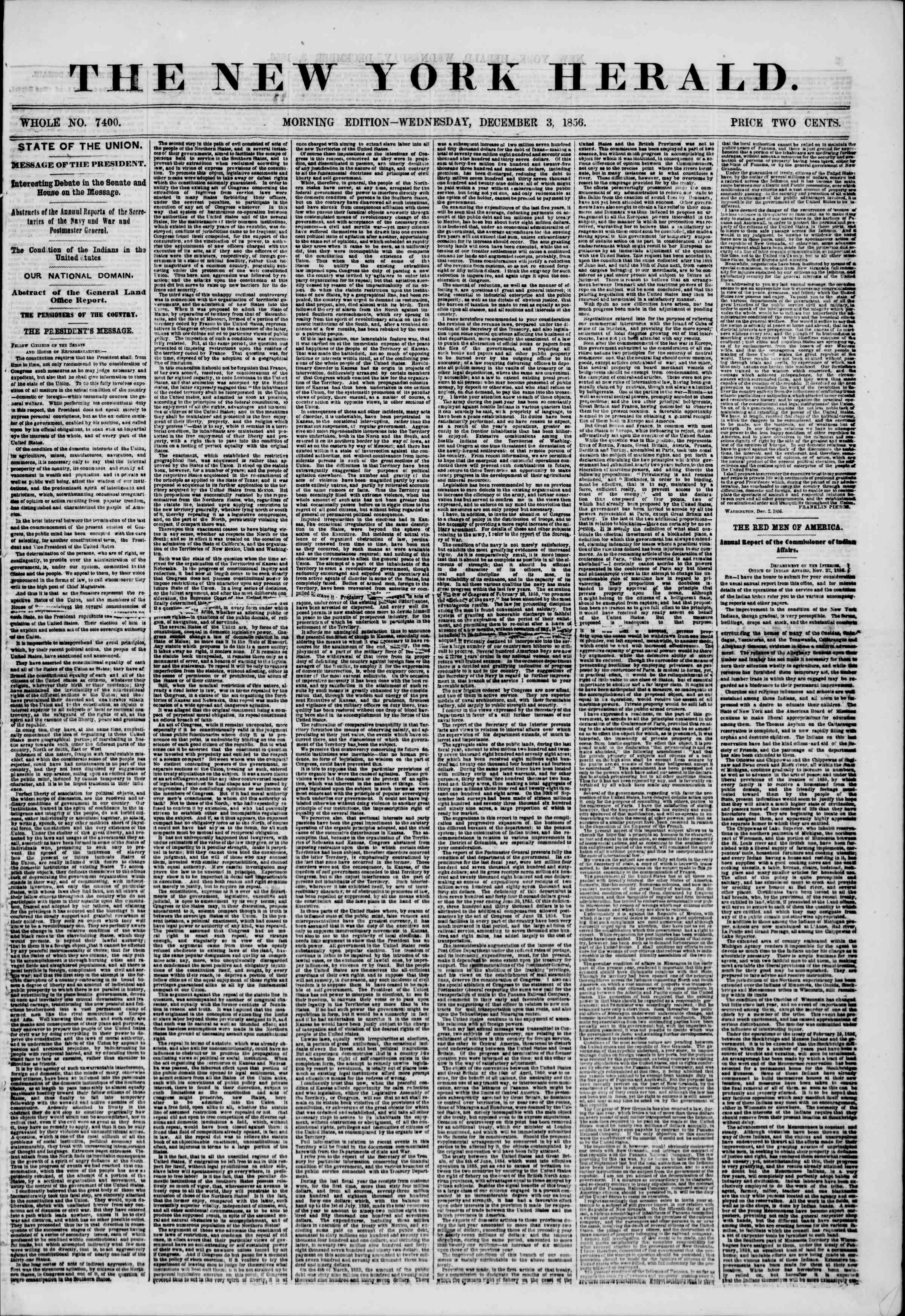 Newspaper of The New York Herald dated December 3, 1856 Page 1