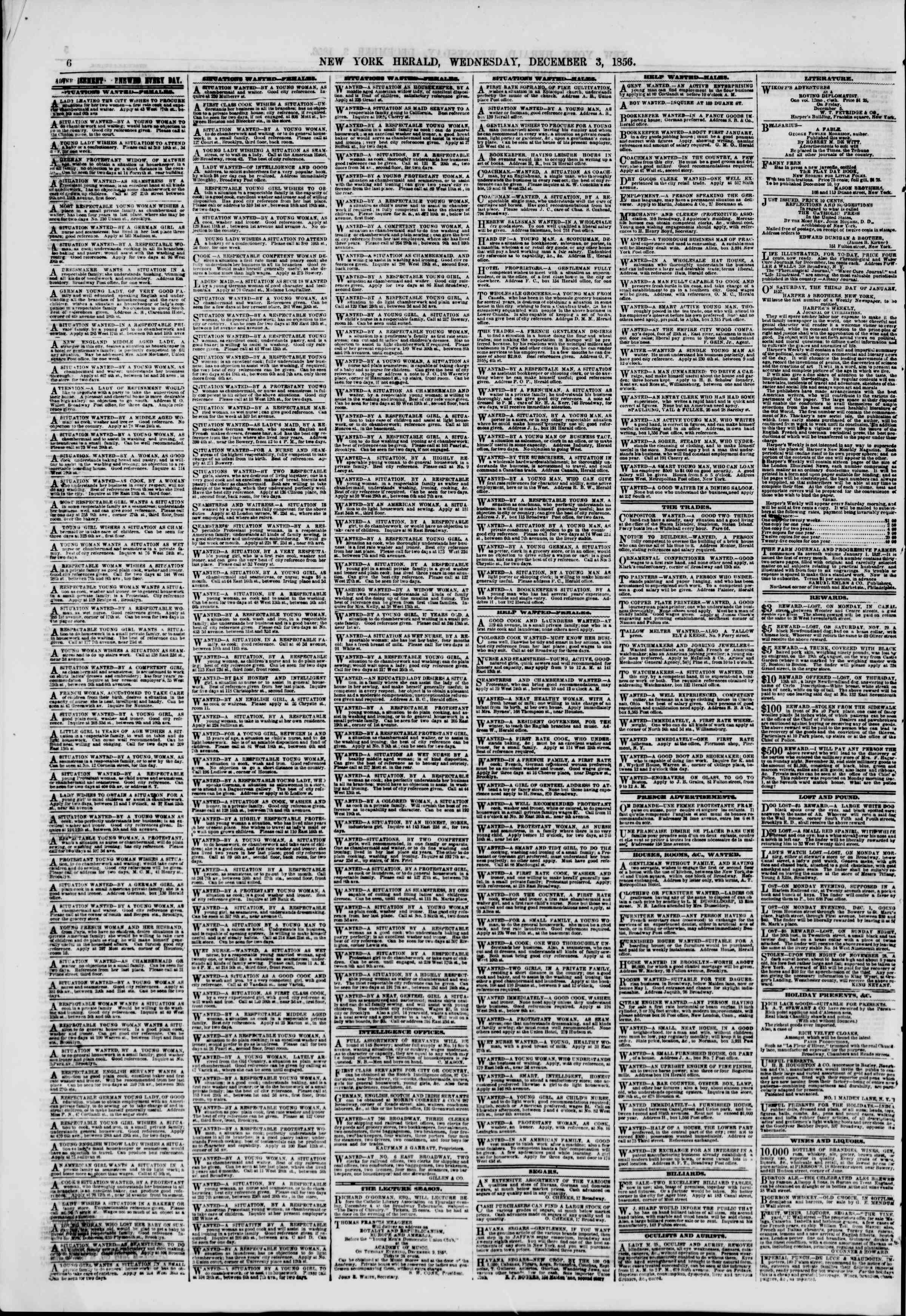 Newspaper of The New York Herald dated December 3, 1856 Page 6
