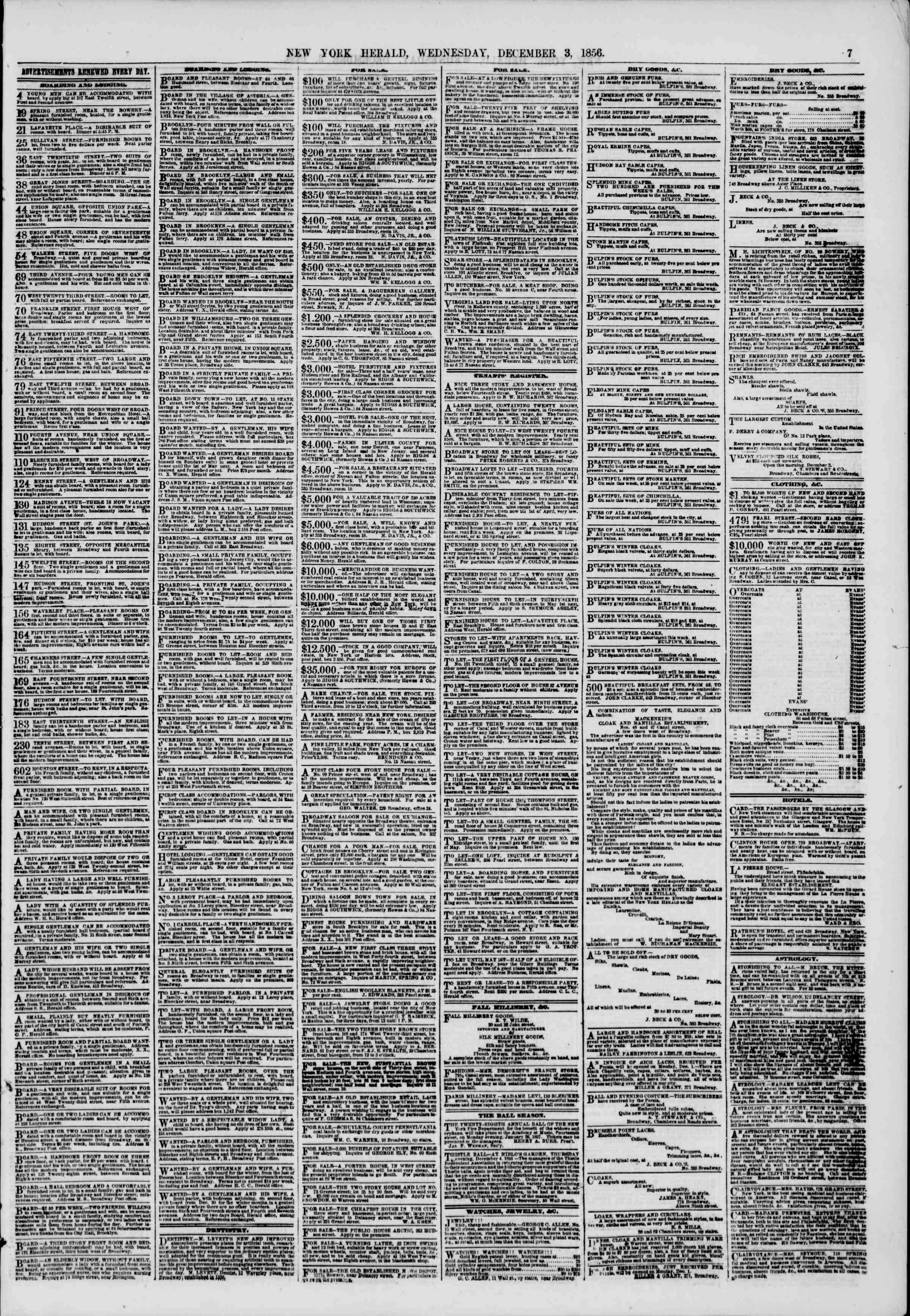 Newspaper of The New York Herald dated December 3, 1856 Page 7