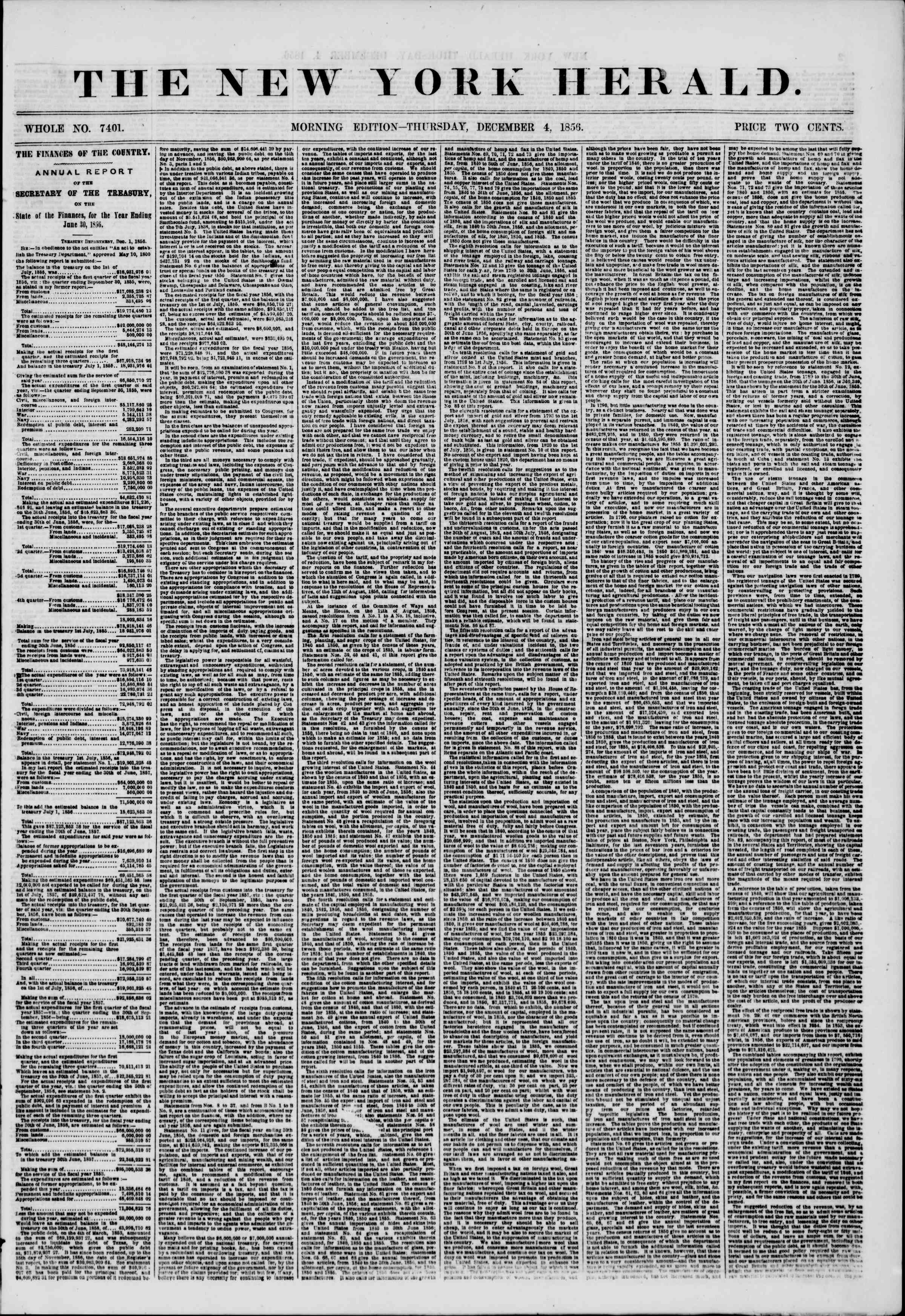 Newspaper of The New York Herald dated December 4, 1856 Page 1