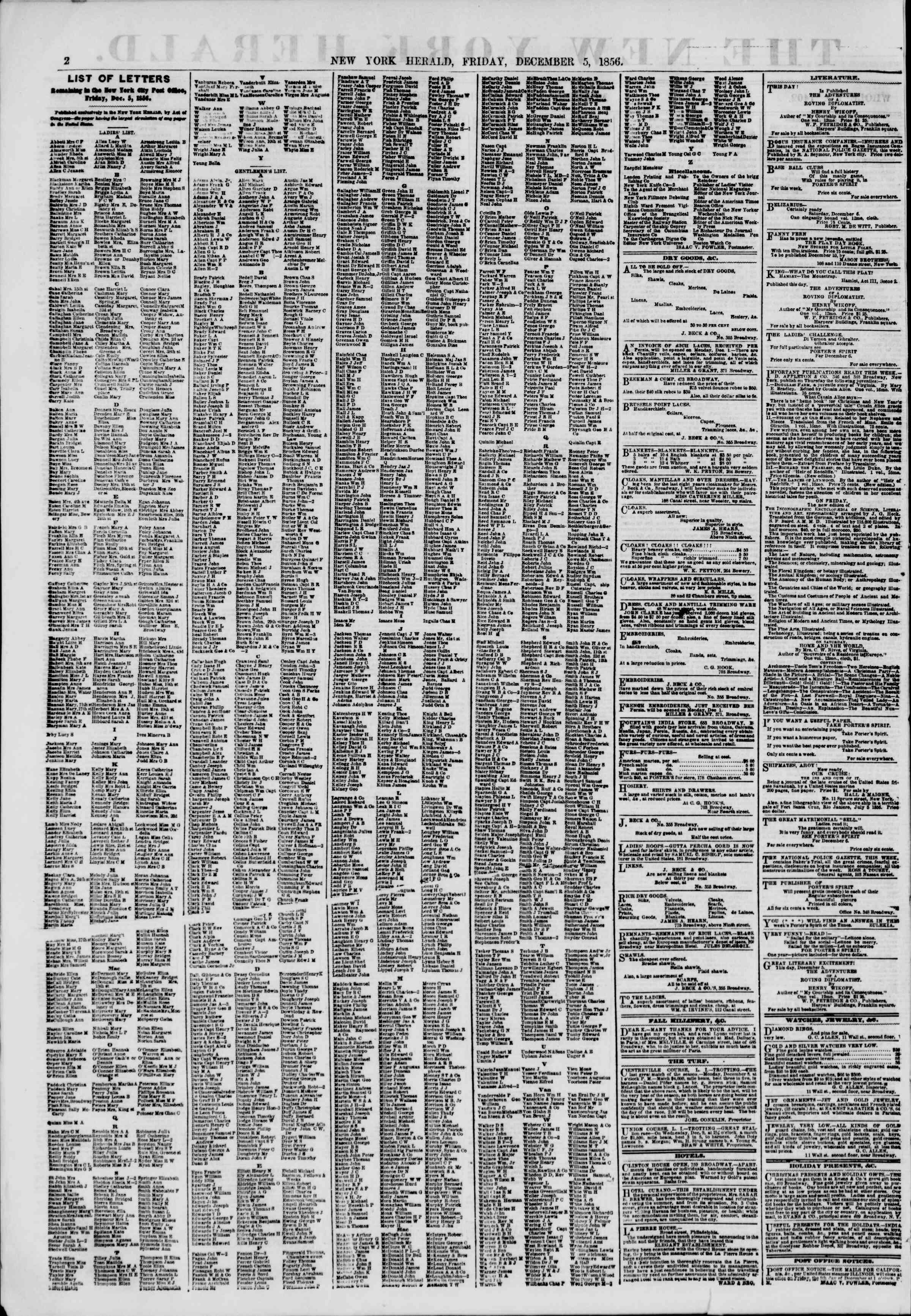 Newspaper of The New York Herald dated December 5, 1856 Page 2