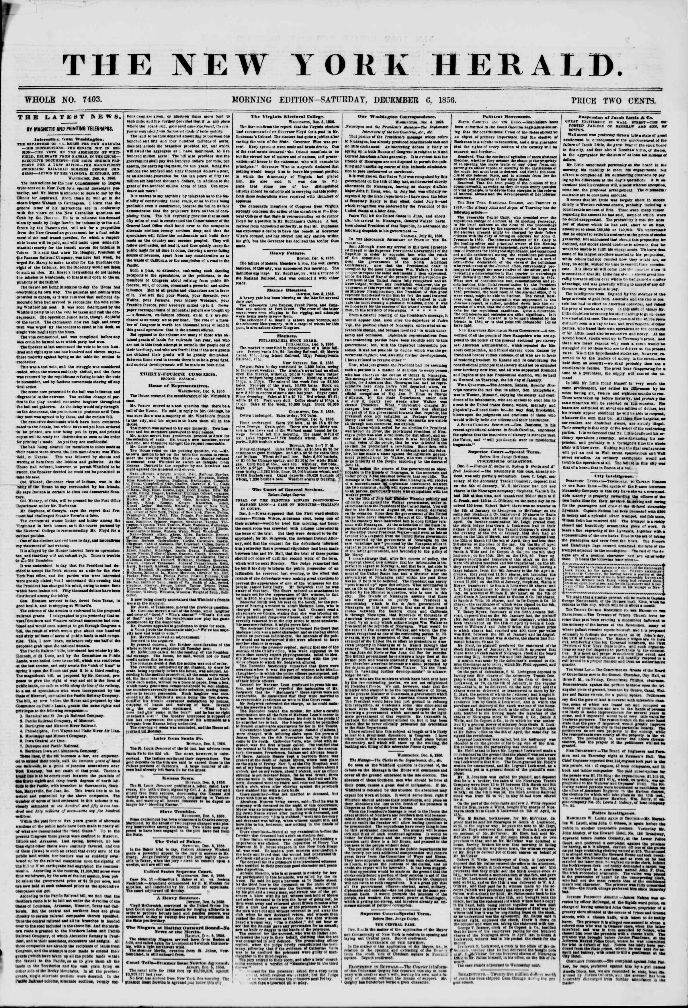 Newspaper of The New York Herald dated December 6, 1856 Page 1