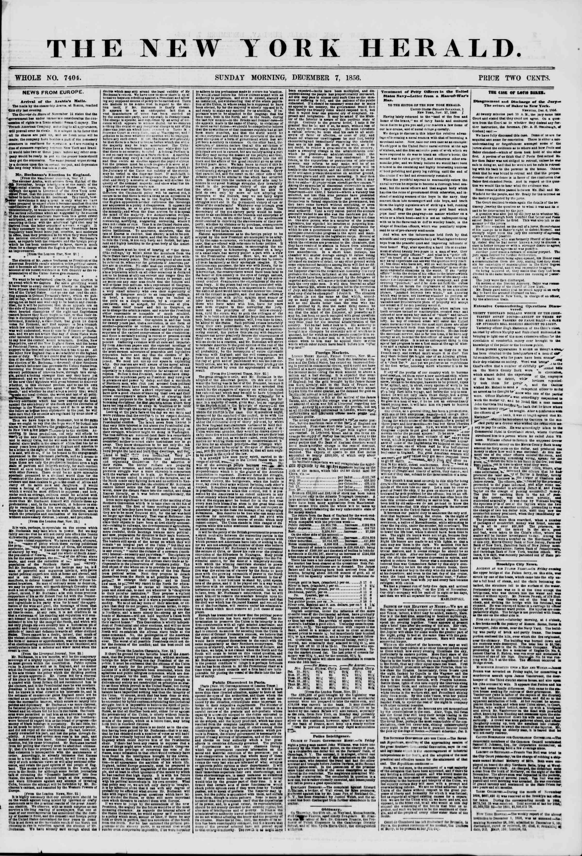 Newspaper of The New York Herald dated December 7, 1856 Page 1