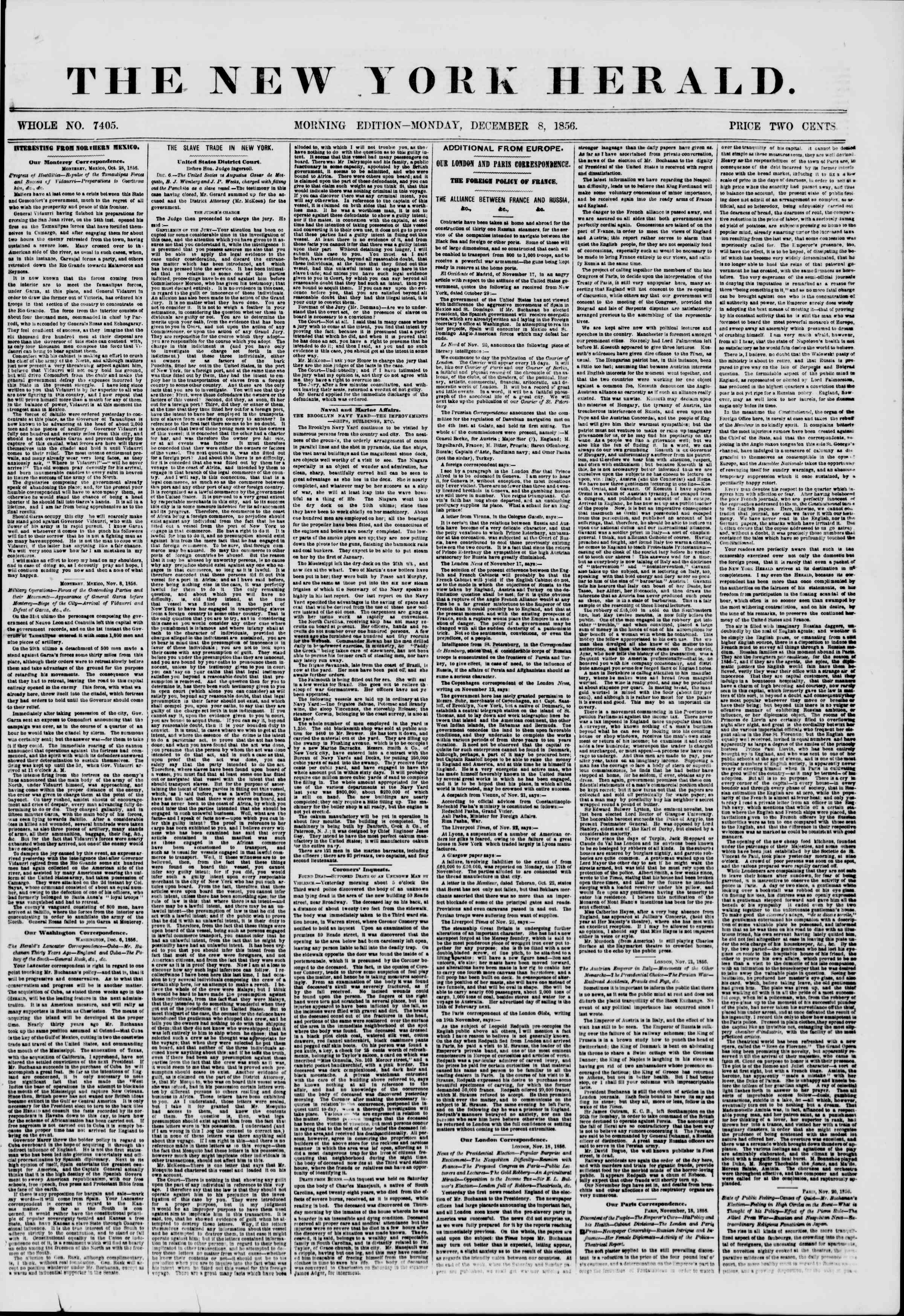 Newspaper of The New York Herald dated December 8, 1856 Page 1