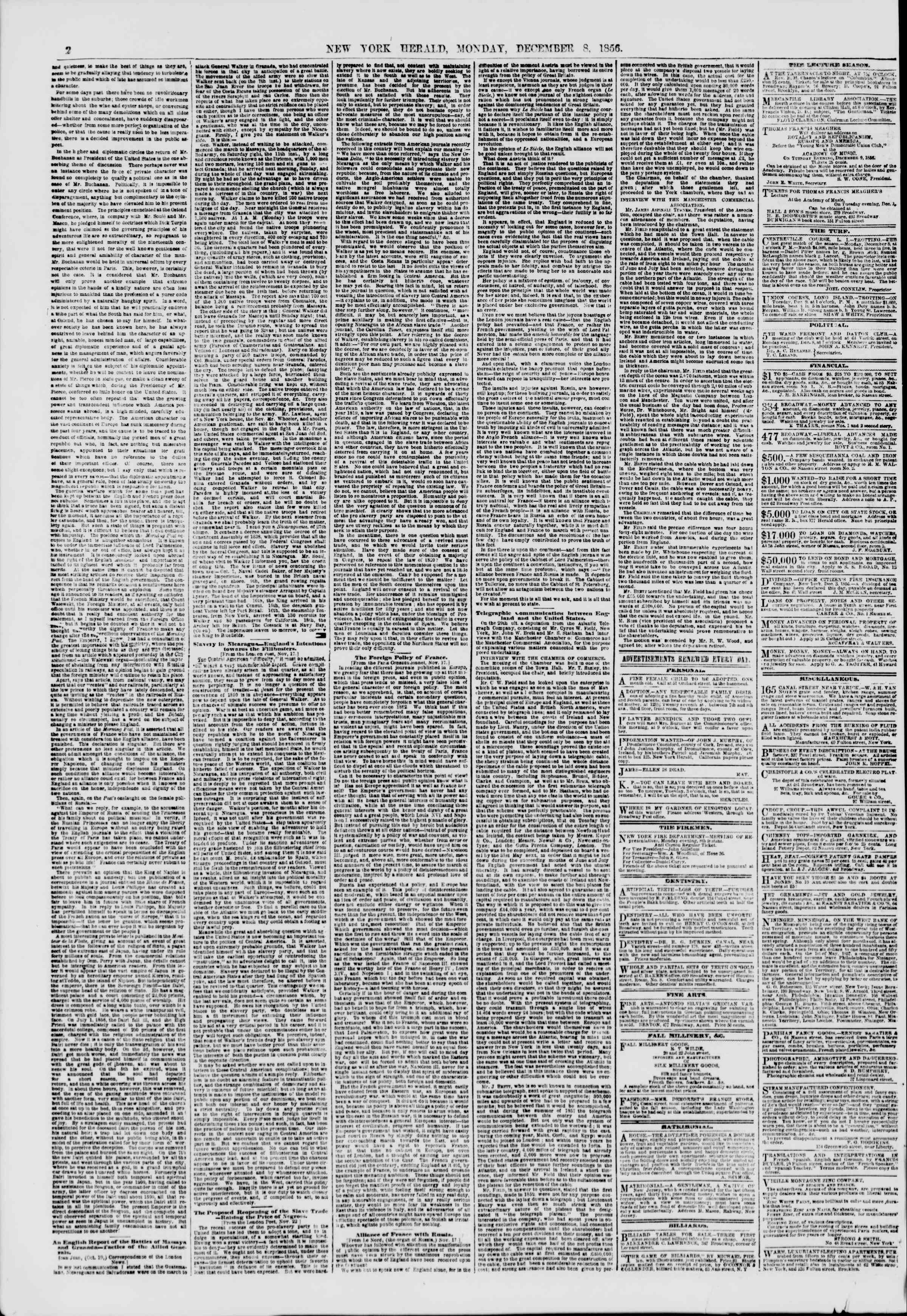 Newspaper of The New York Herald dated December 8, 1856 Page 2