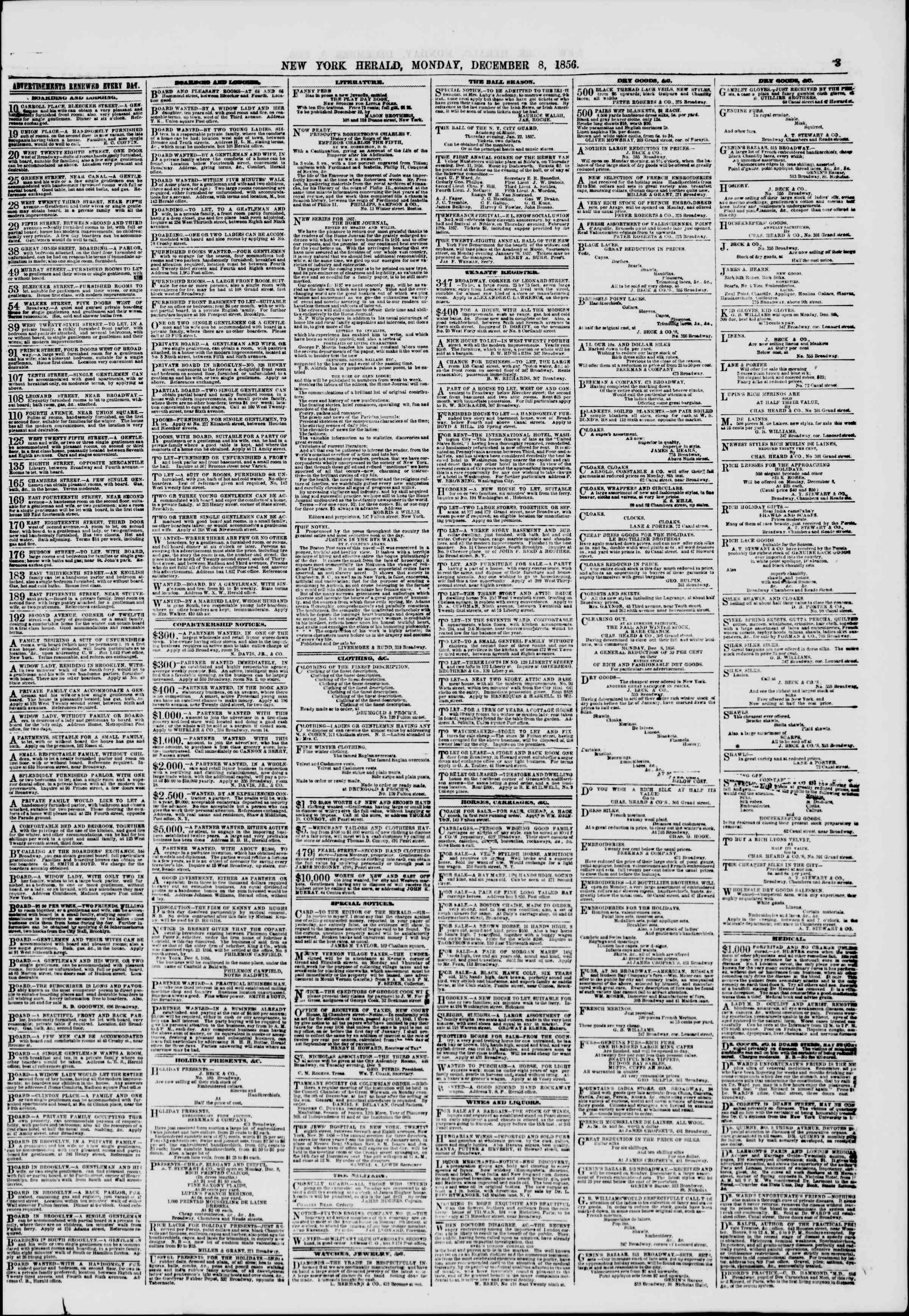 Newspaper of The New York Herald dated December 8, 1856 Page 3