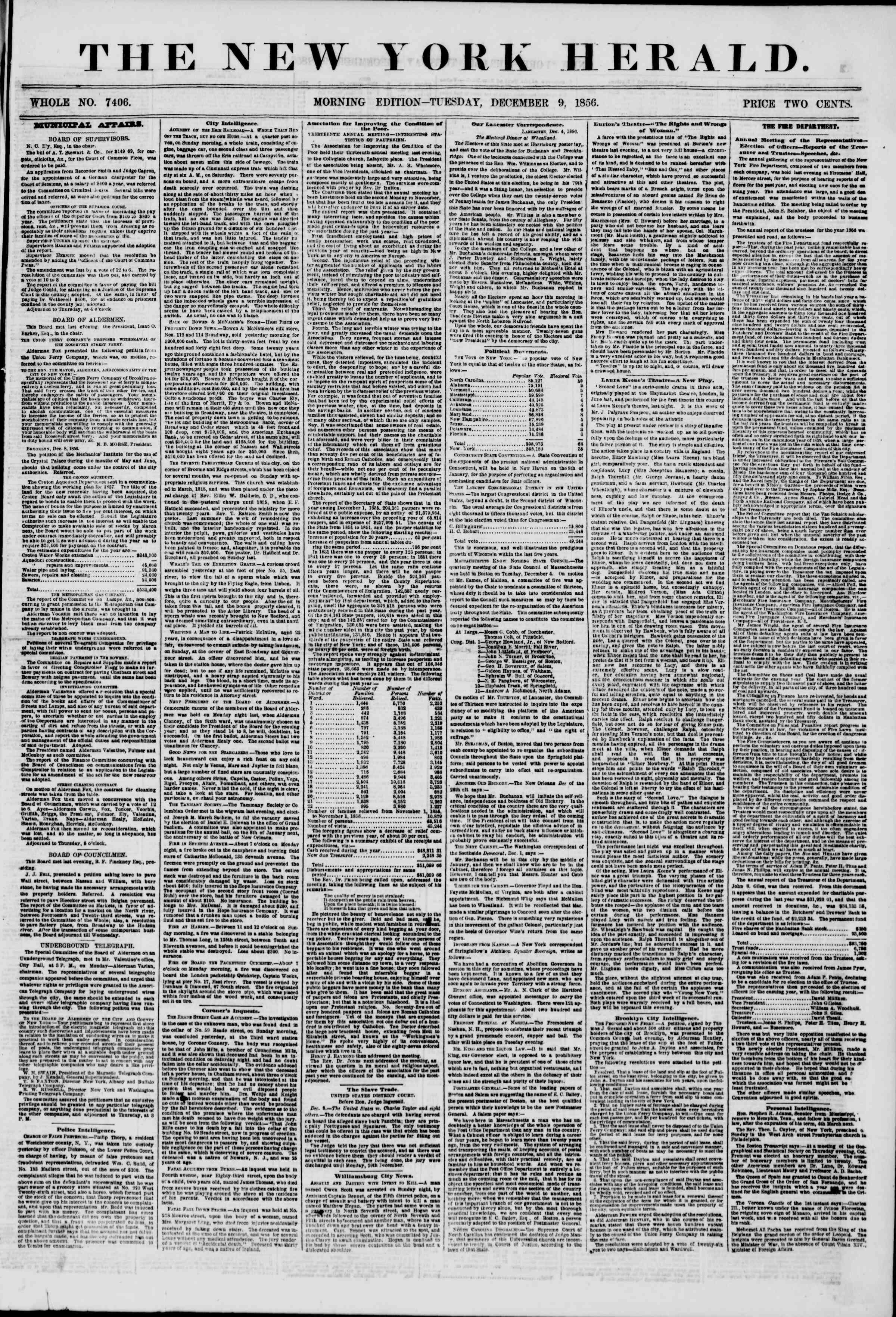 9 Aralık 1856 tarihli The New York Herald Gazetesi Sayfa 1