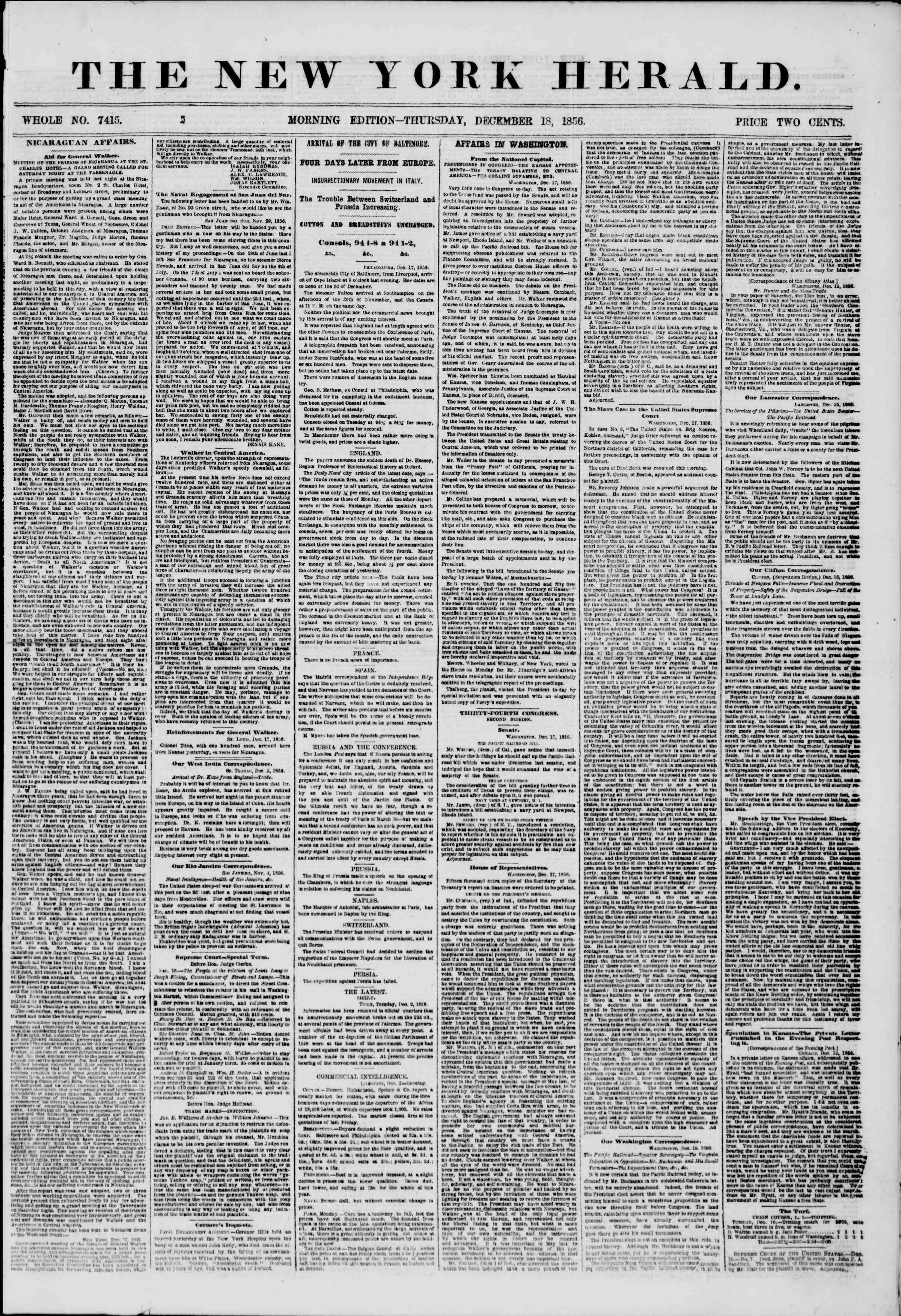 Newspaper of The New York Herald dated December 18, 1856 Page 1