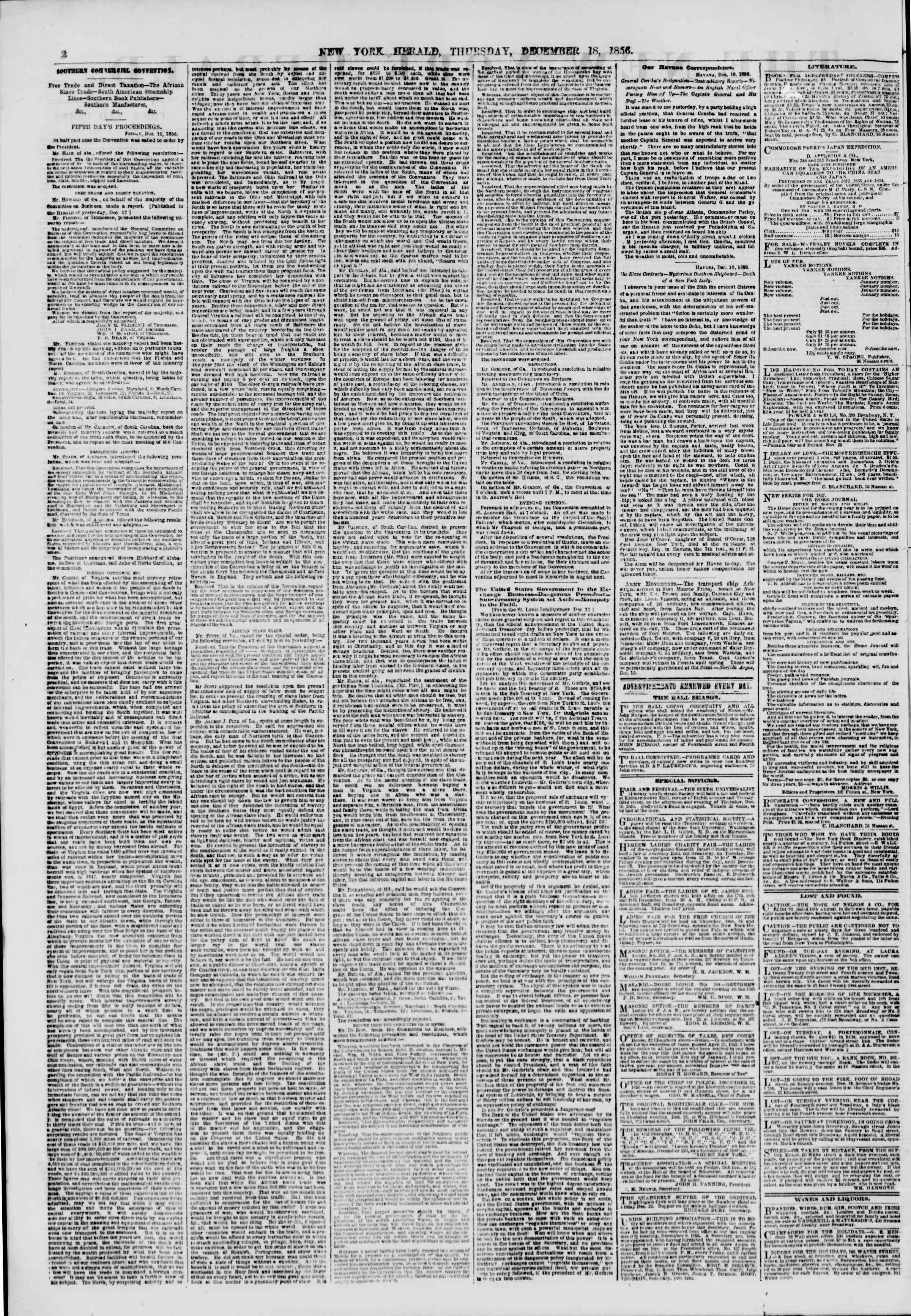 18 Aralık 1856 tarihli The New York Herald Gazetesi Sayfa 2