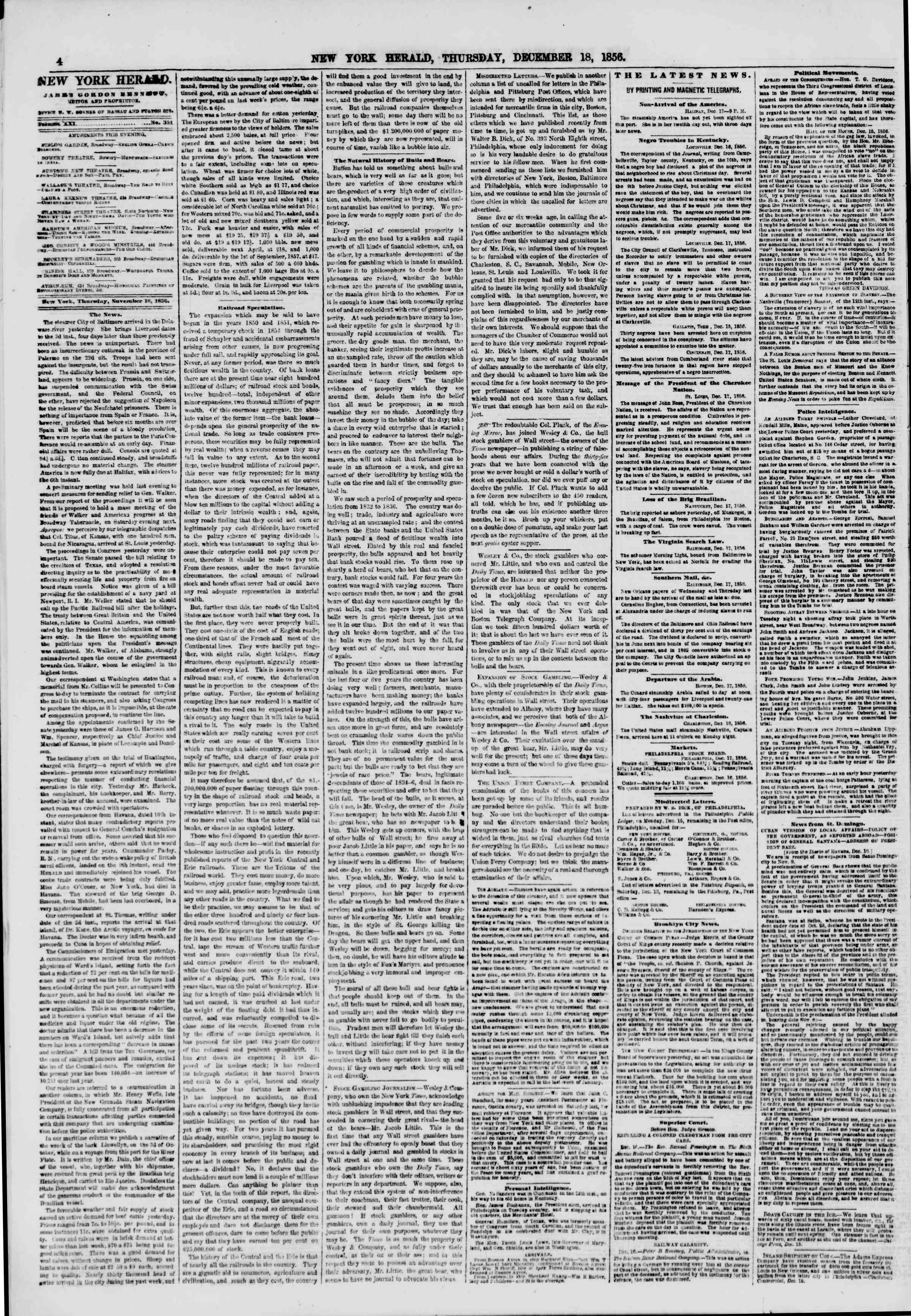 Newspaper of The New York Herald dated December 18, 1856 Page 4