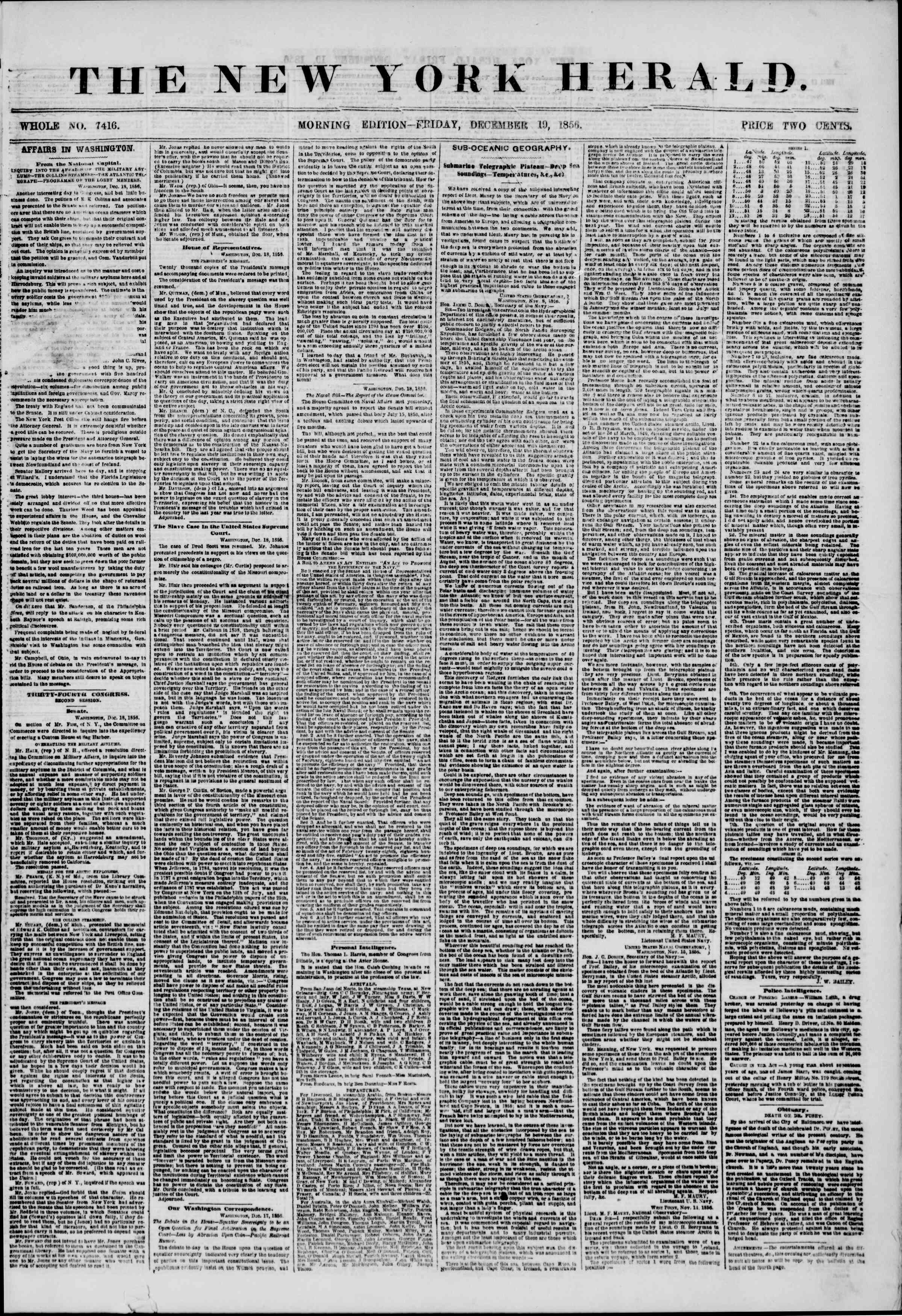 Newspaper of The New York Herald dated December 19, 1856 Page 1