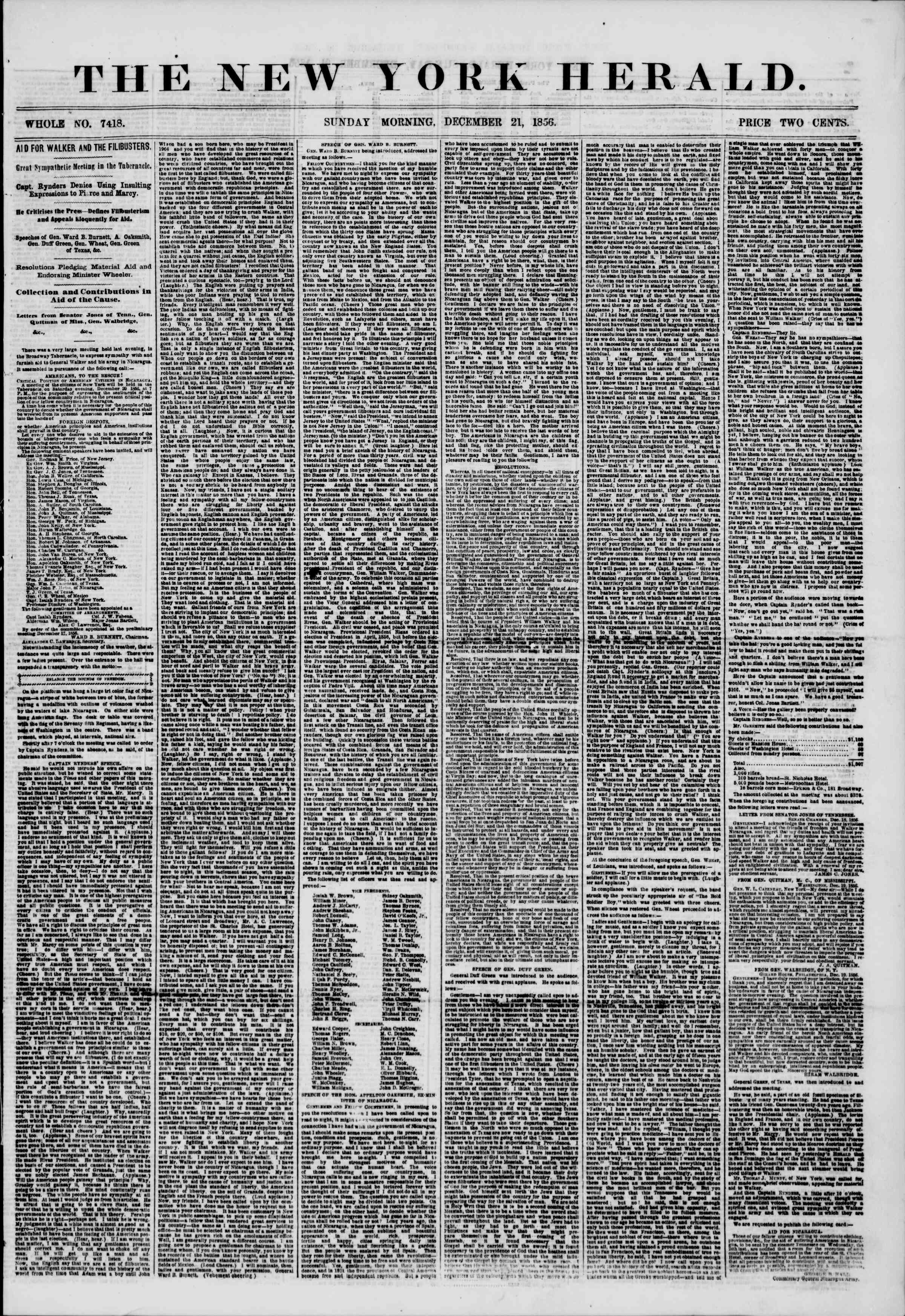 Newspaper of The New York Herald dated December 21, 1856 Page 1