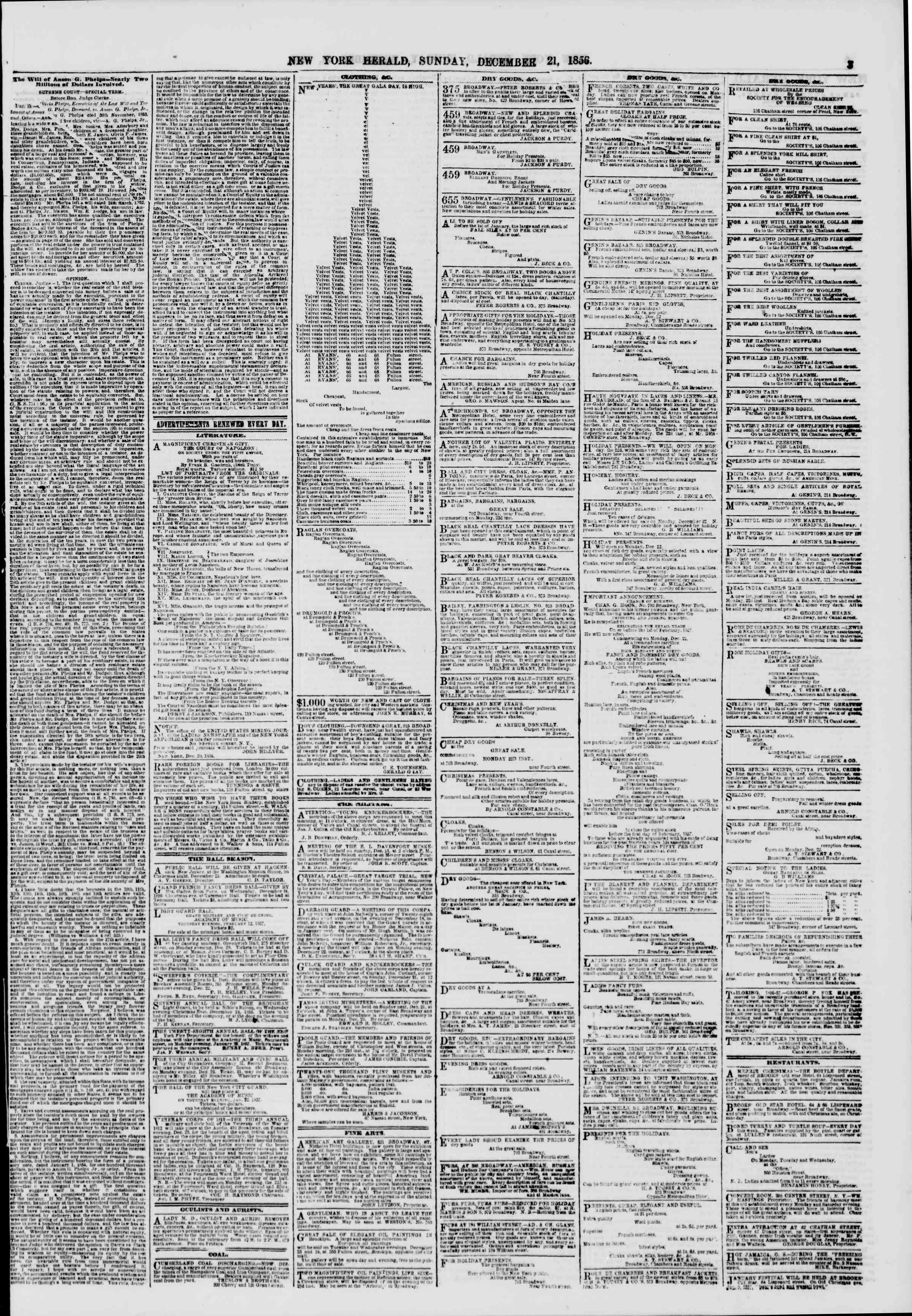21 Aralık 1856 tarihli The New York Herald Gazetesi Sayfa 3