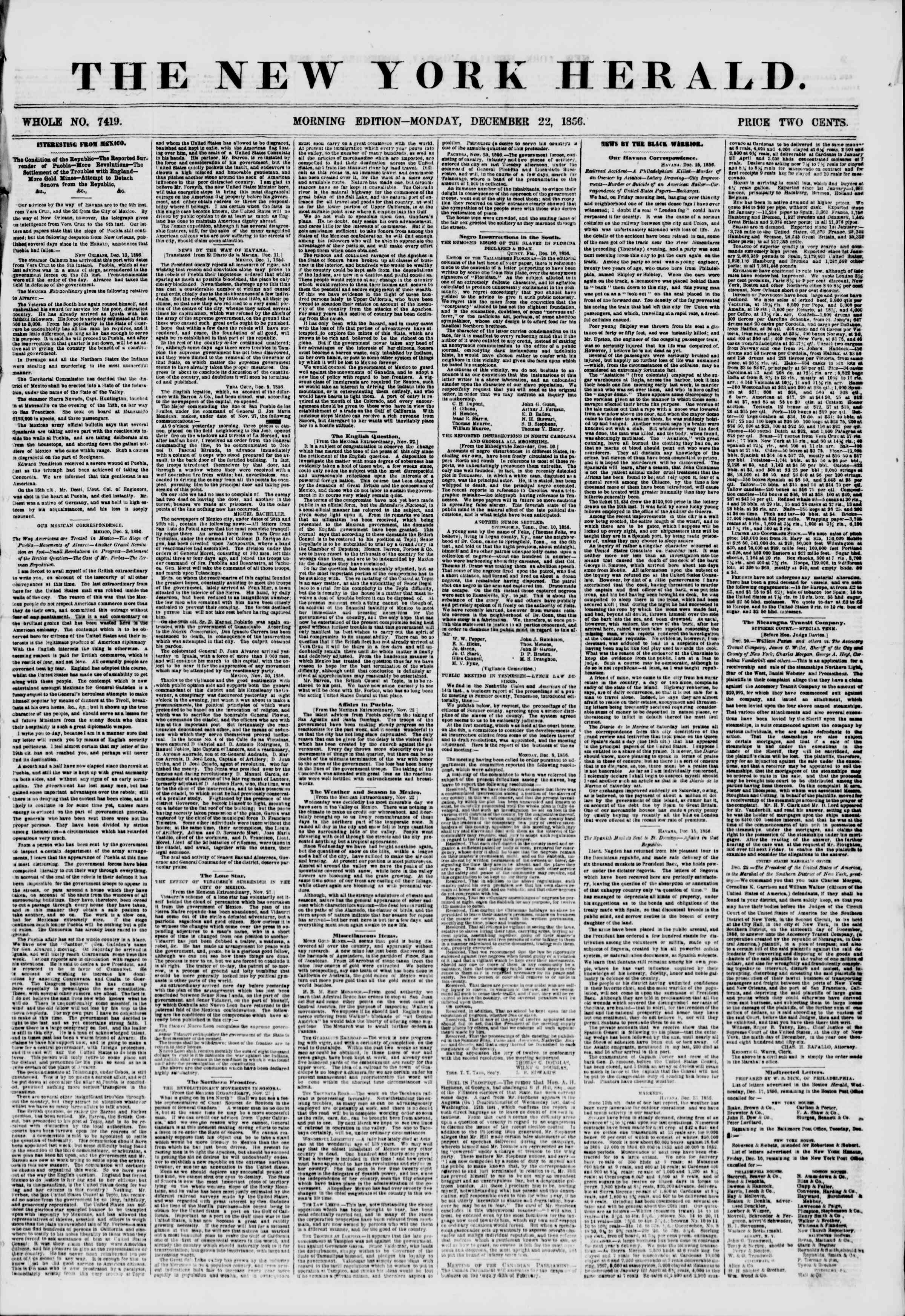 Newspaper of The New York Herald dated December 22, 1856 Page 1