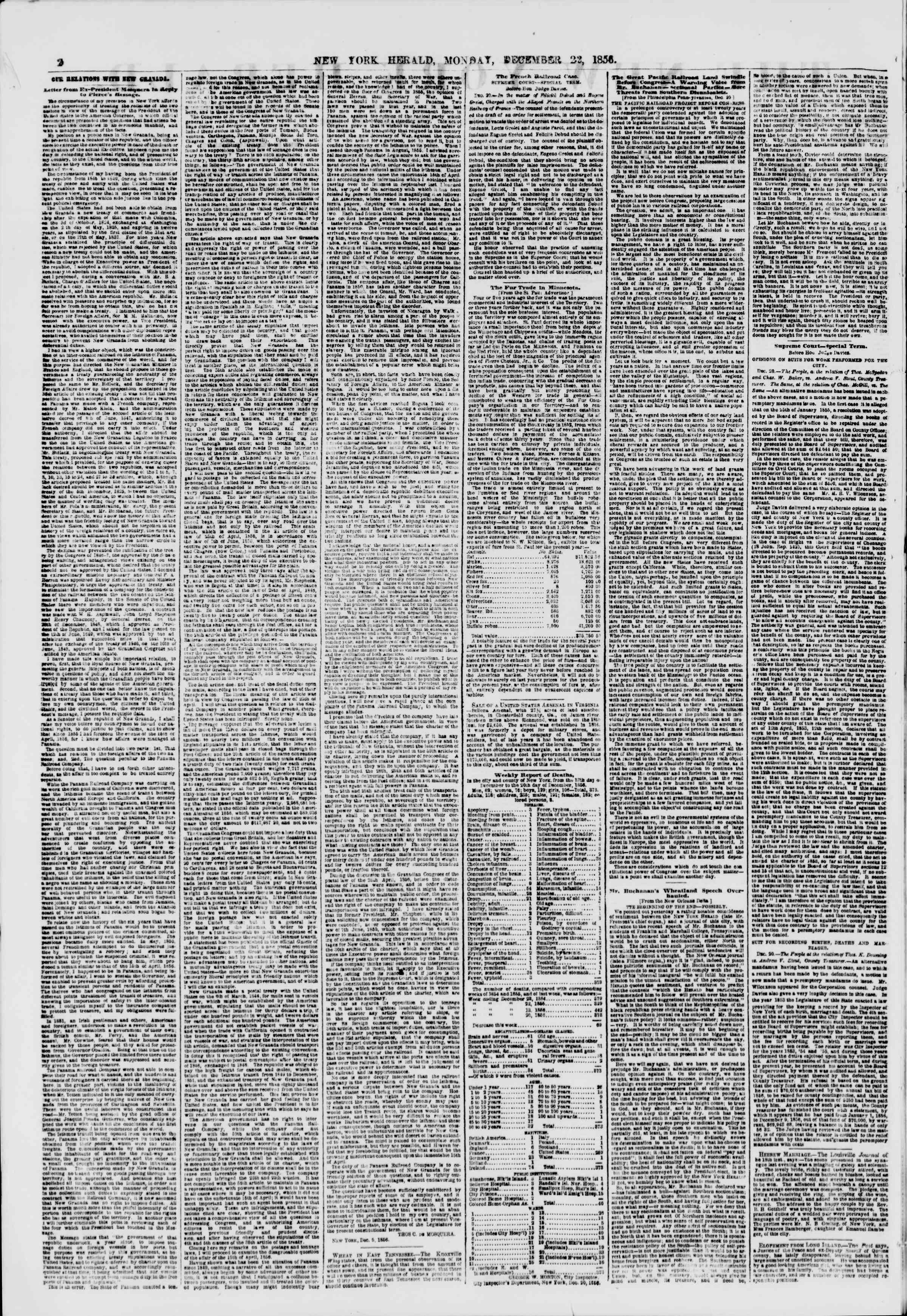 Newspaper of The New York Herald dated December 22, 1856 Page 2