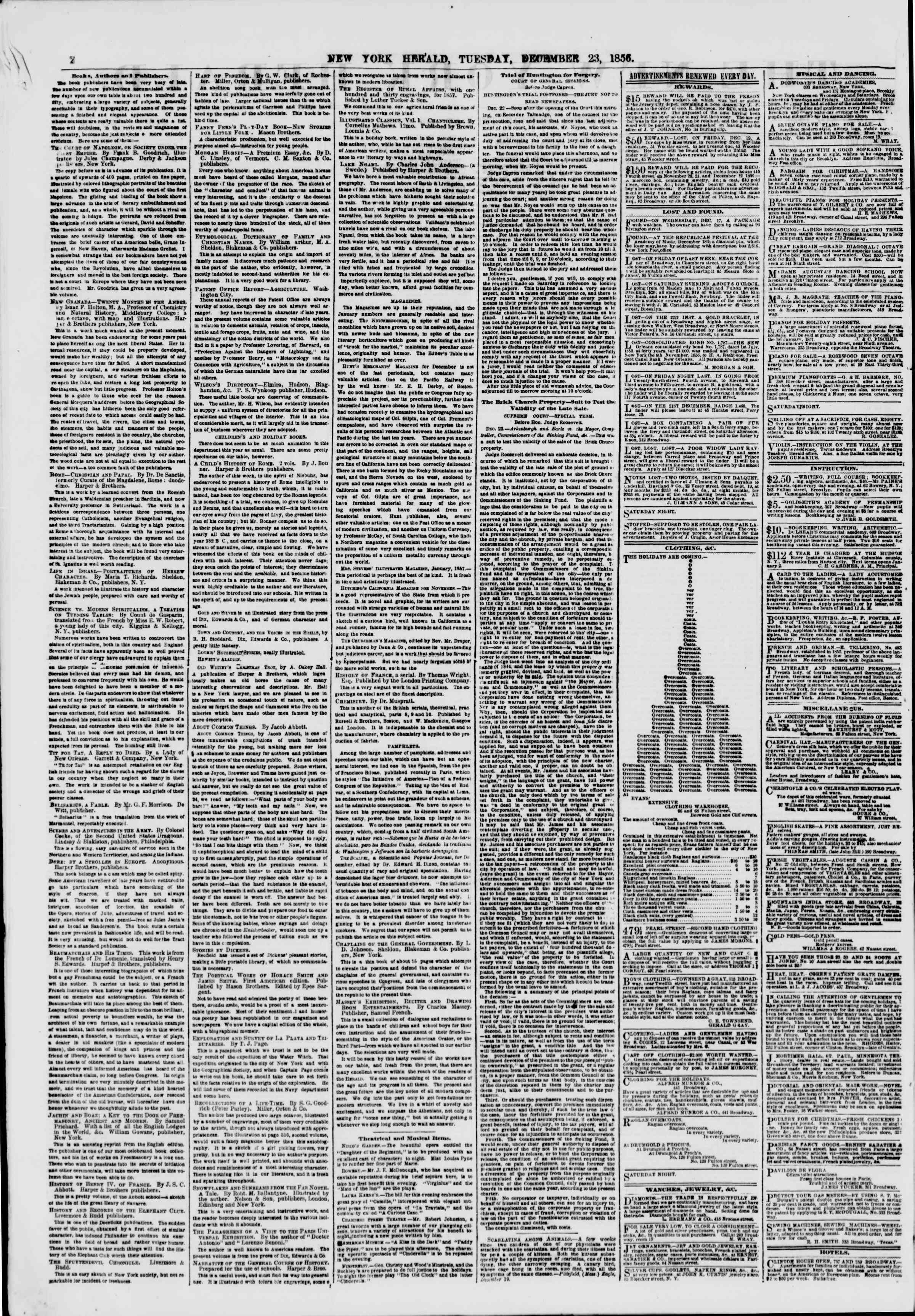Newspaper of The New York Herald dated December 23, 1856 Page 2