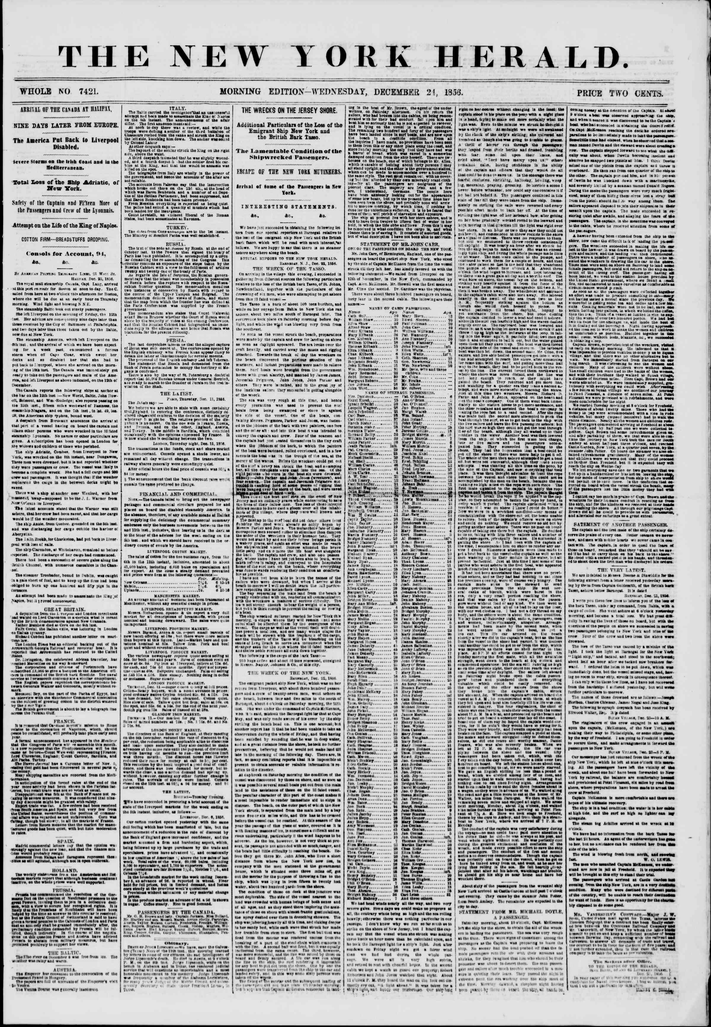 Newspaper of The New York Herald dated December 24, 1856 Page 1