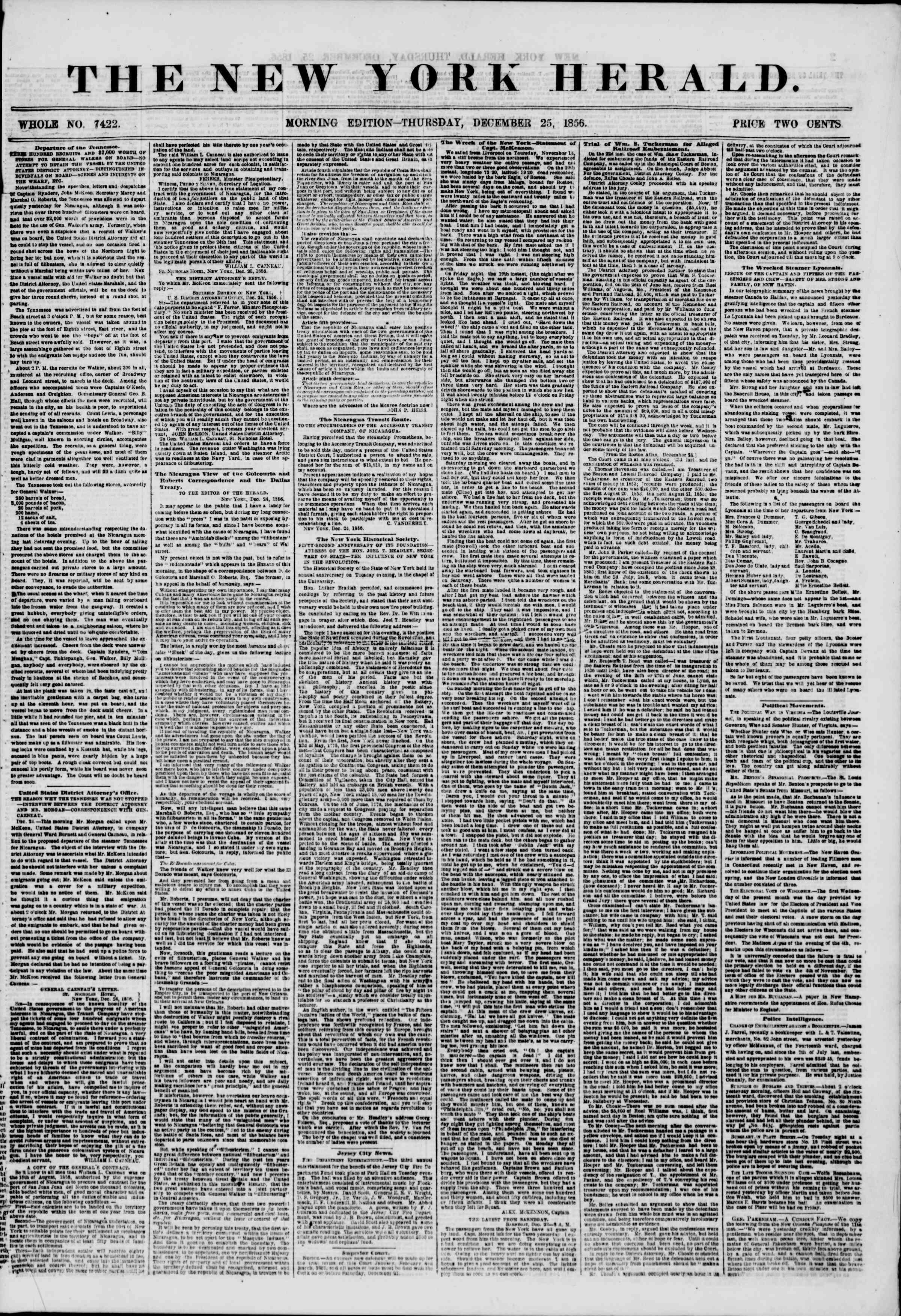 Newspaper of The New York Herald dated December 25, 1856 Page 1