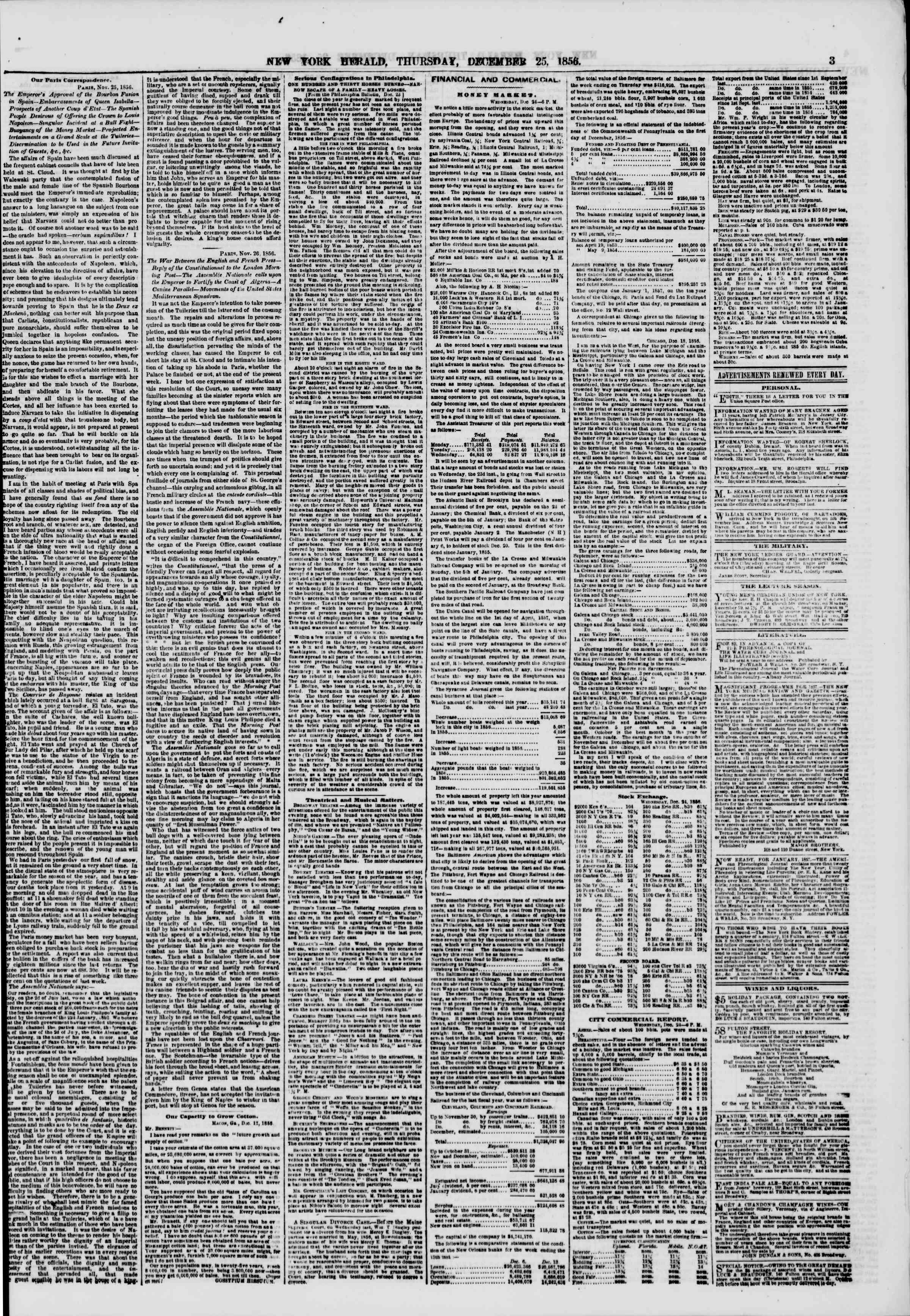 Newspaper of The New York Herald dated December 25, 1856 Page 3