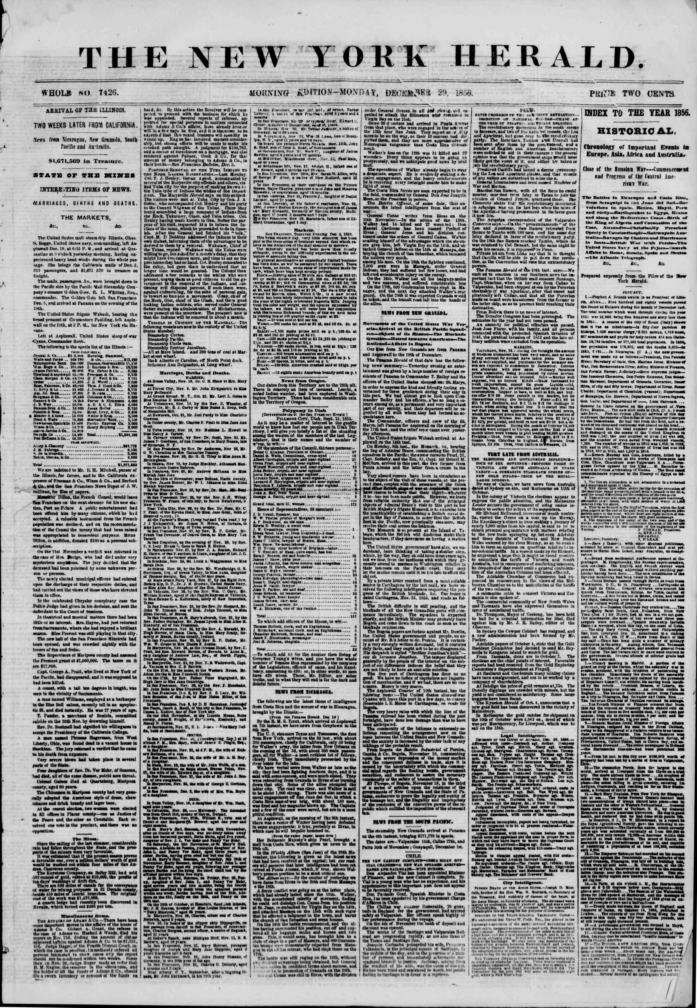Newspaper of The New York Herald dated December 29, 1856 Page 1