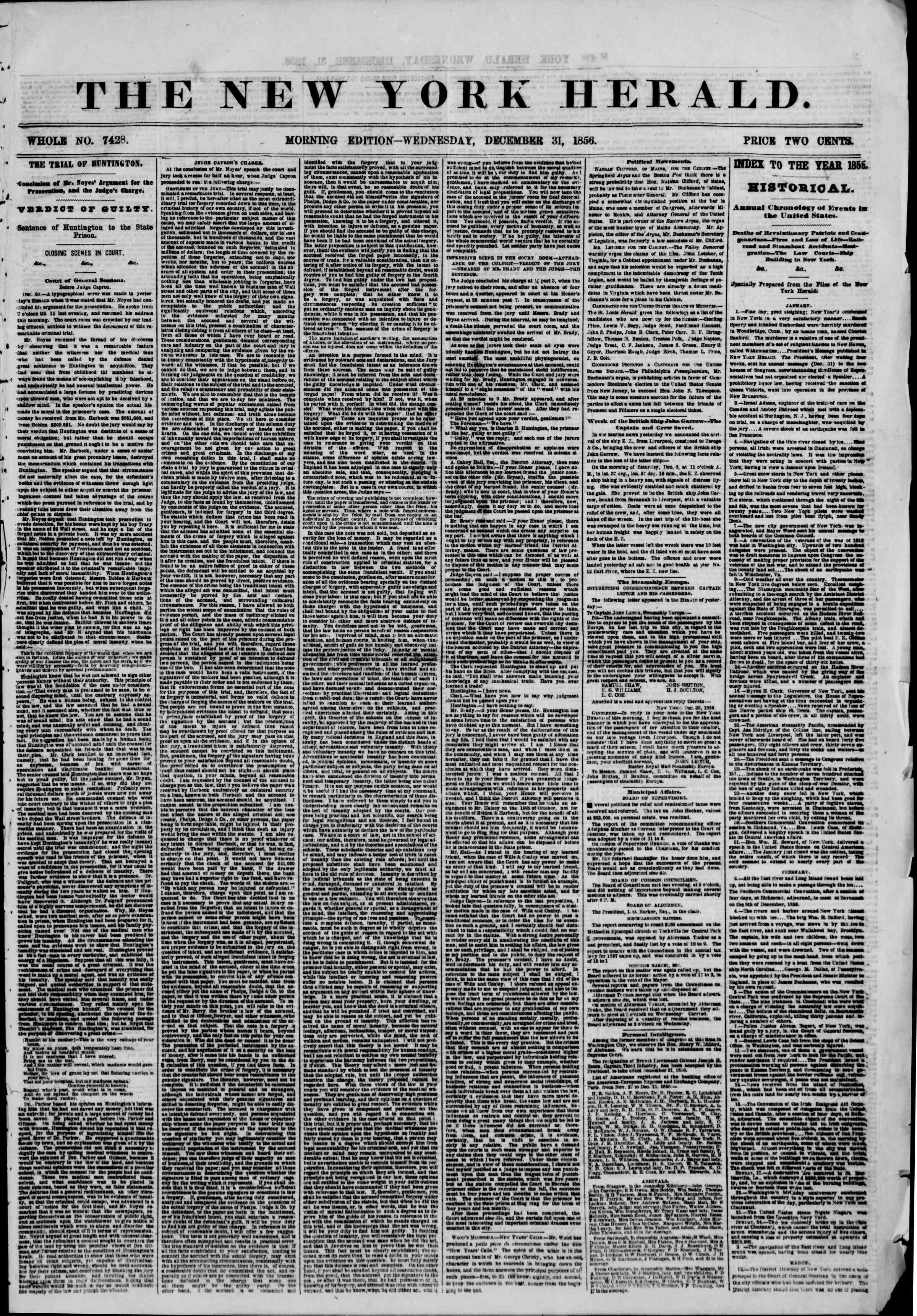 Newspaper of The New York Herald dated December 31, 1856 Page 1