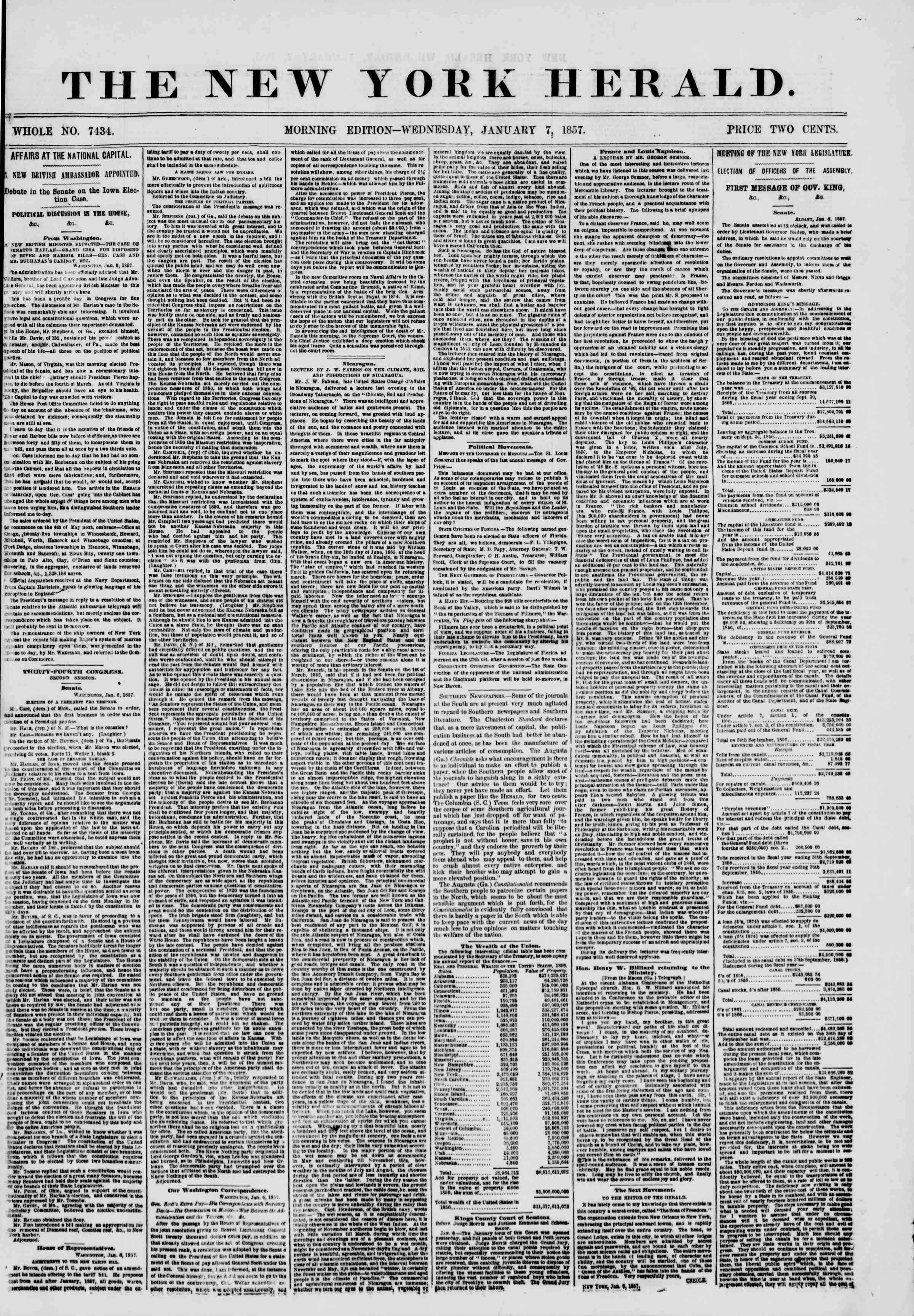 Newspaper of The New York Herald dated January 7, 1857 Page 1