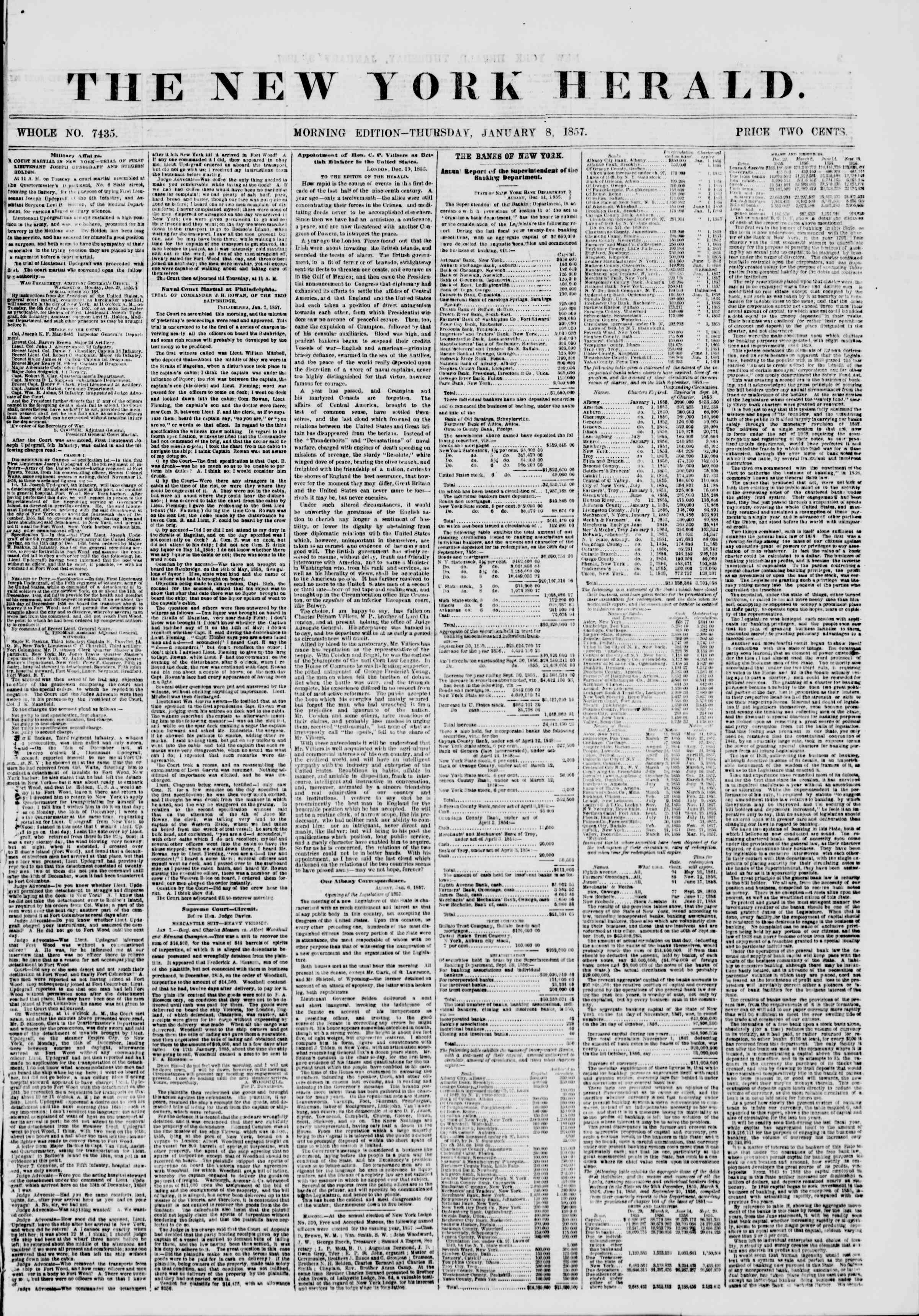 8 Ocak 1857 tarihli The New York Herald Gazetesi Sayfa 1