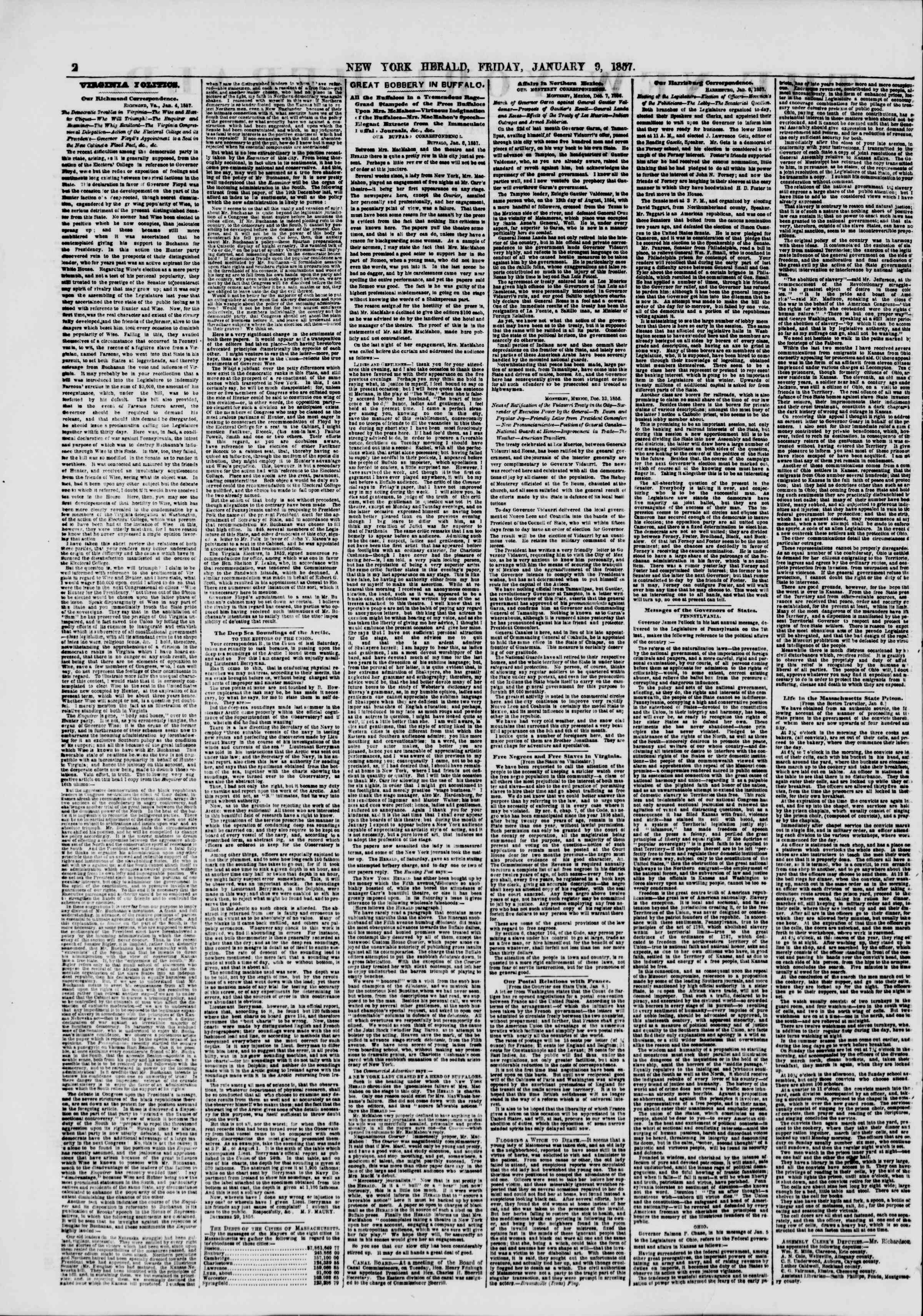 Newspaper of The New York Herald dated January 9, 1857 Page 2