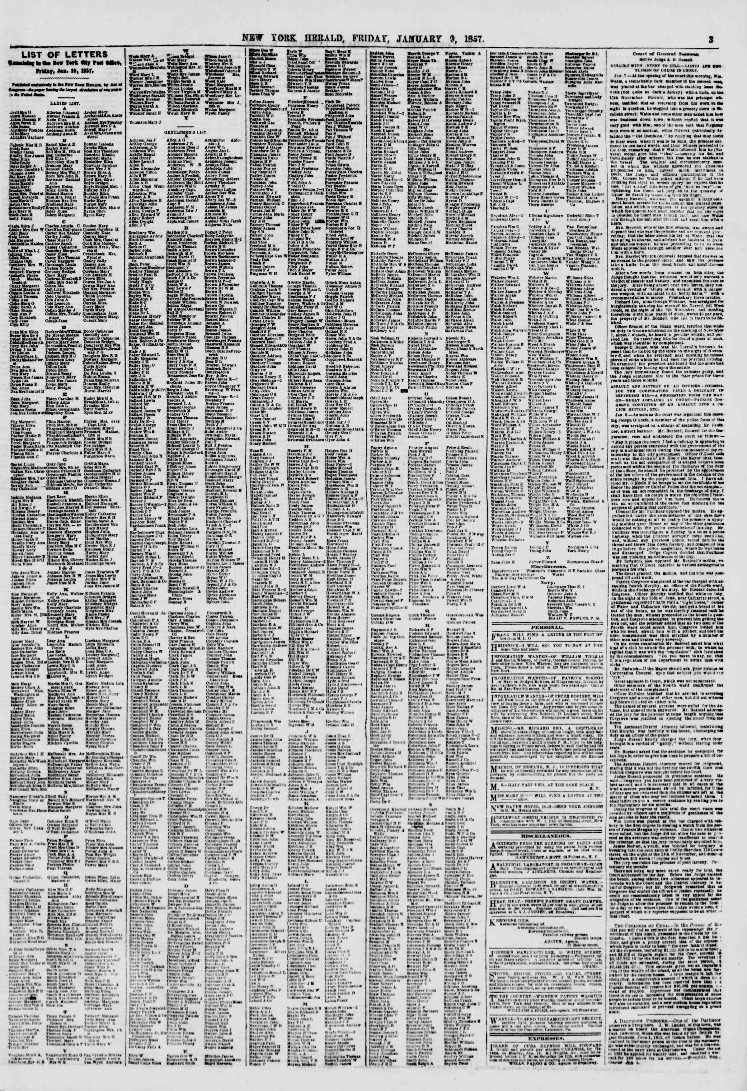 9 Ocak 1857 tarihli The New York Herald Gazetesi Sayfa 3
