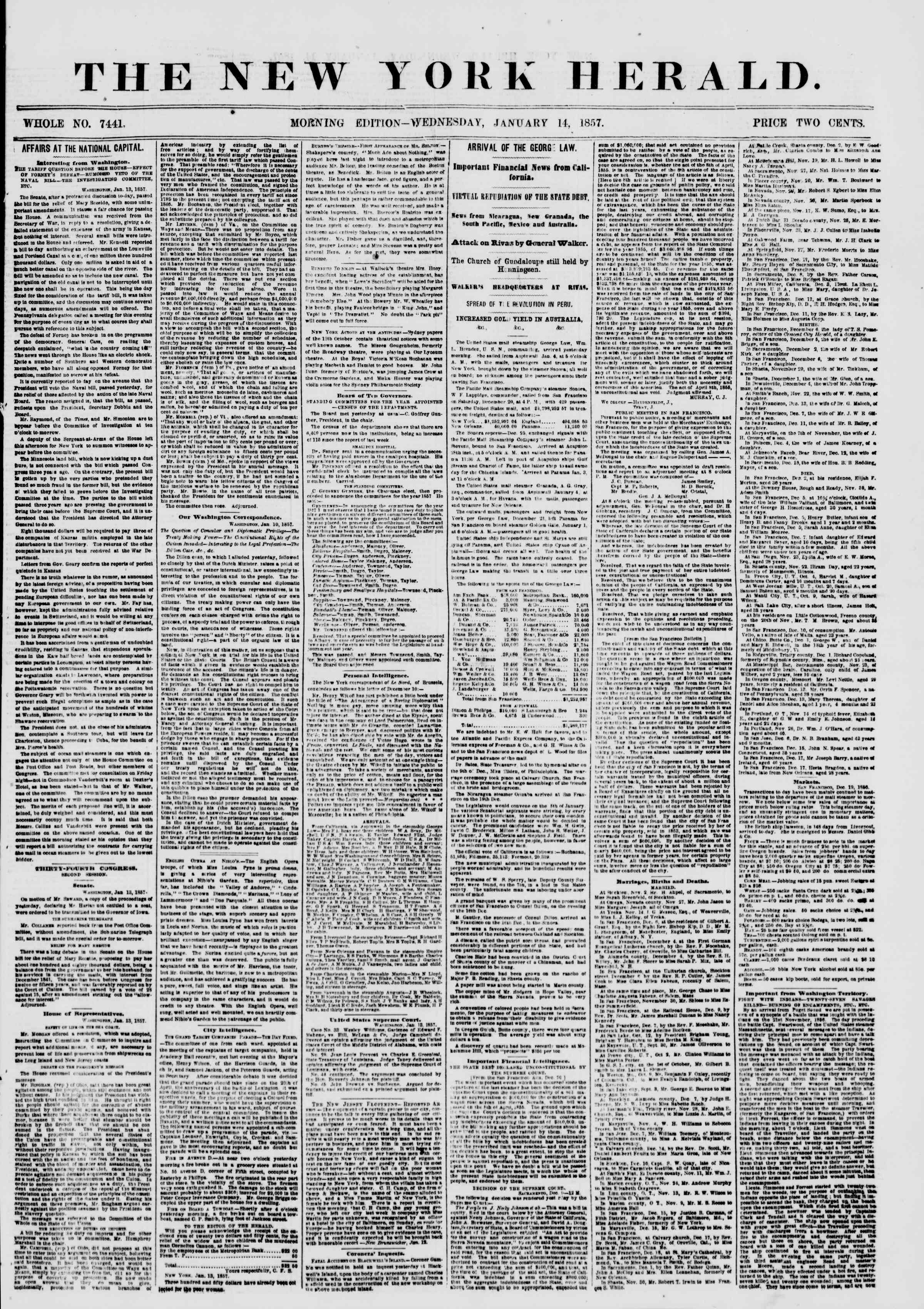 Newspaper of The New York Herald dated 14 Ocak 1857 Page 1