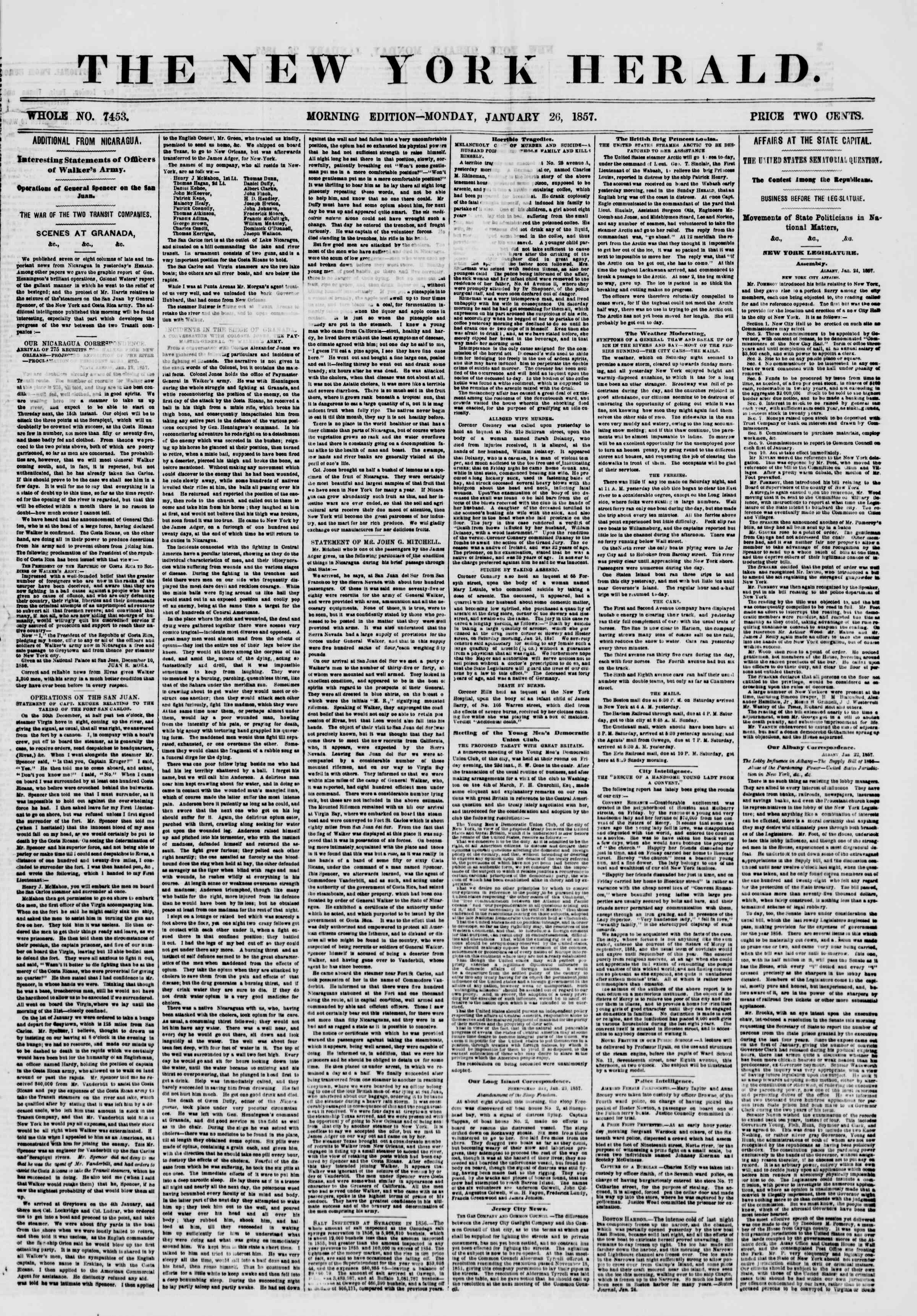 26 Ocak 1857 tarihli The New York Herald Gazetesi Sayfa 1