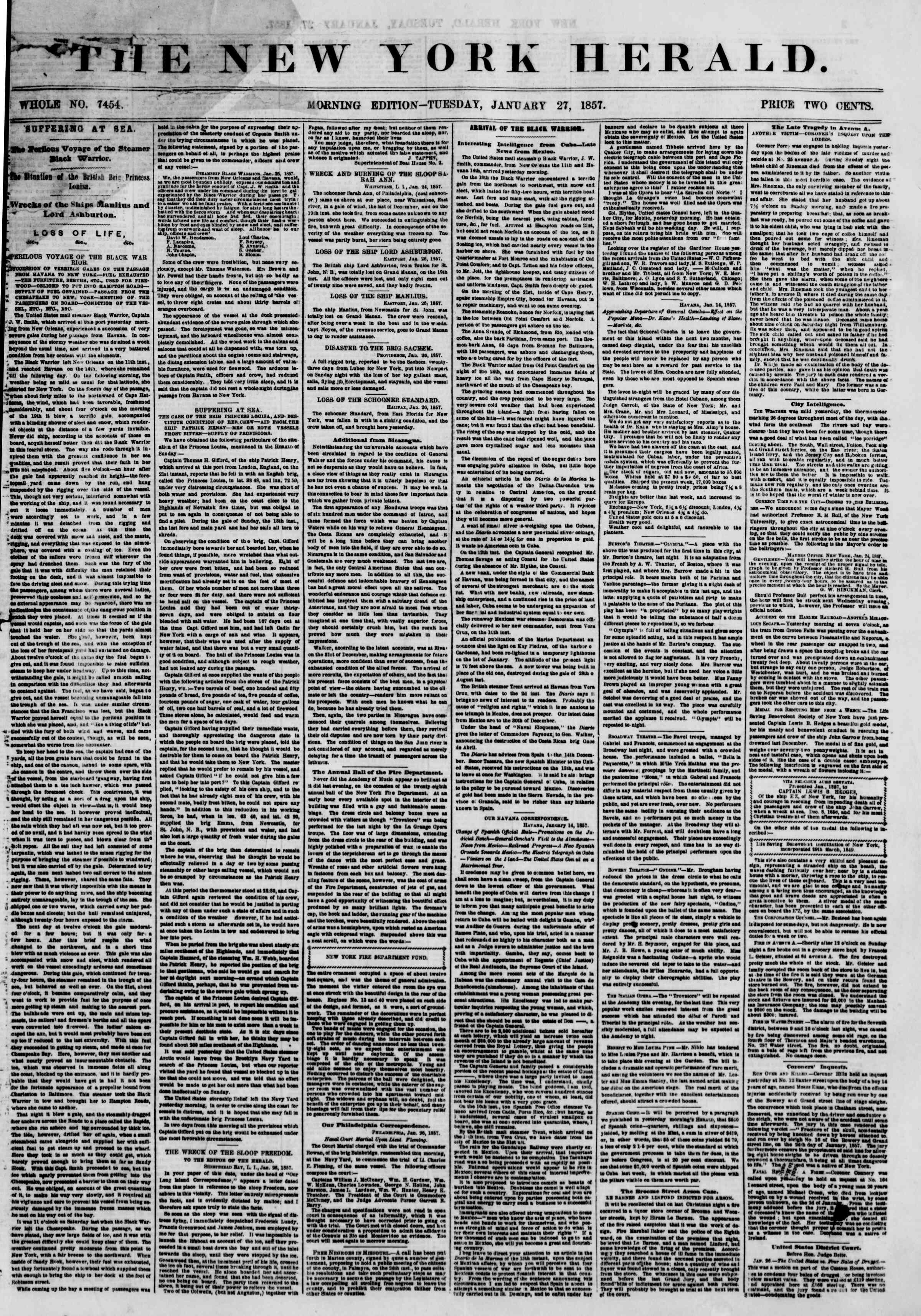 Newspaper of The New York Herald dated January 27, 1857 Page 1